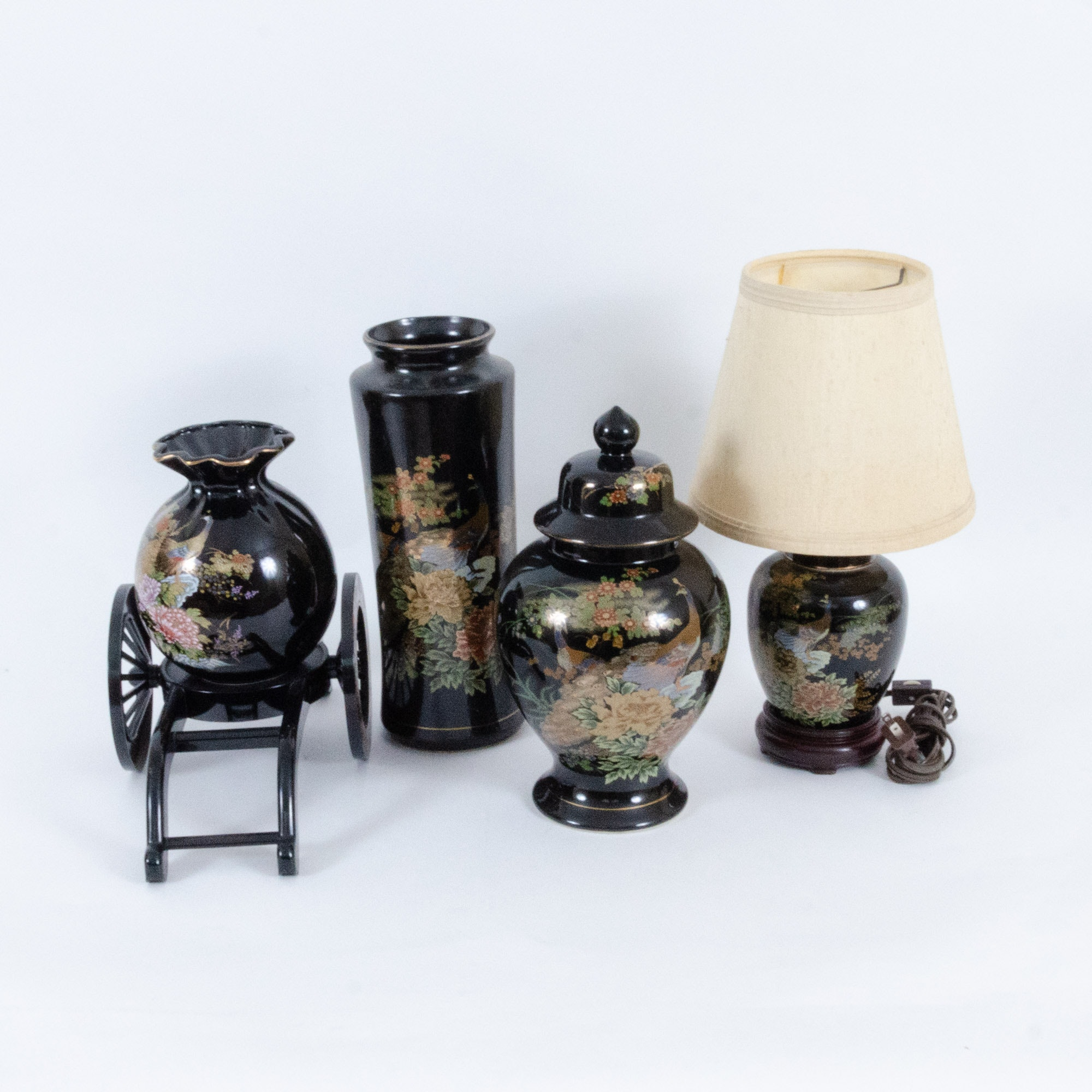 Japanese Porcelain Lamp, Ginger Jar, and Vases
