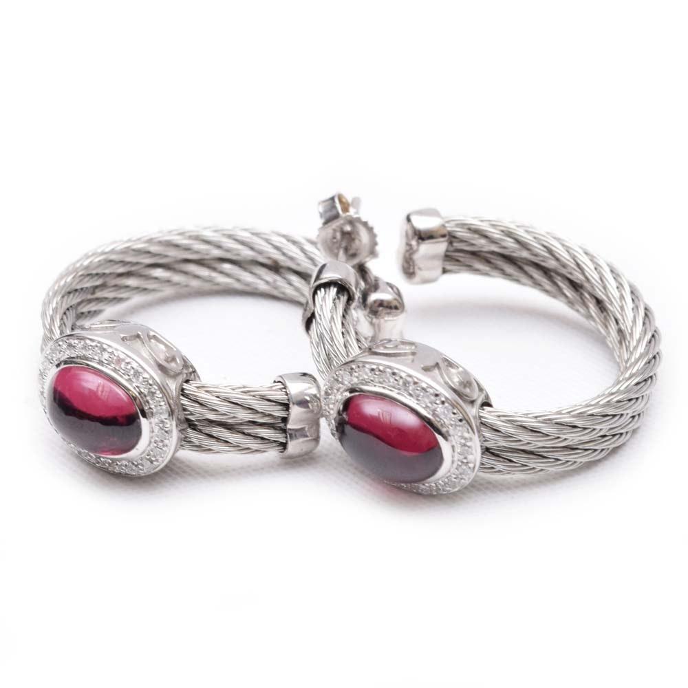 Charriol 18K White Gold and Steel Garnet and Diamond Hoop Earrings