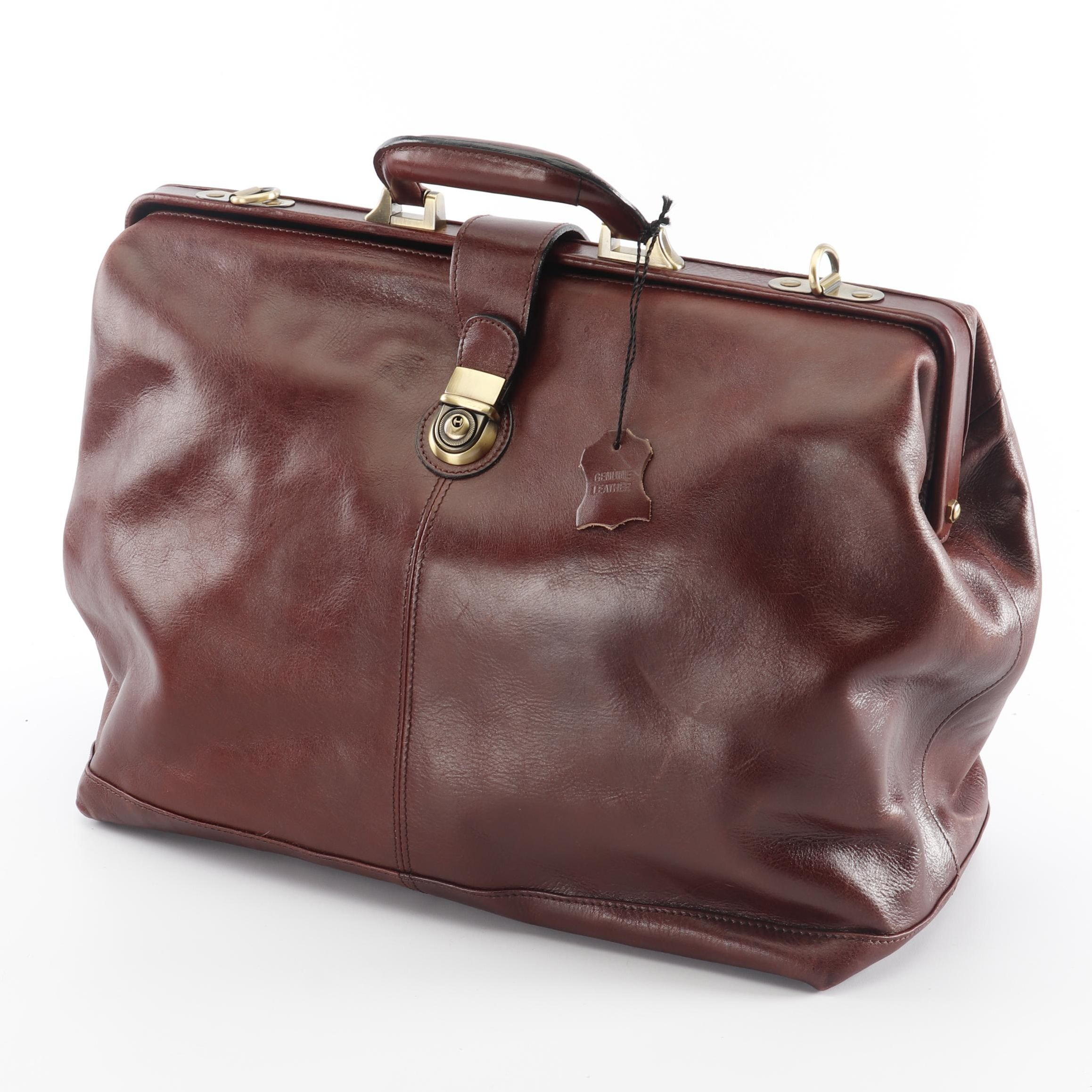 Brown Leather Locking Doctor's Bag / Briefcase