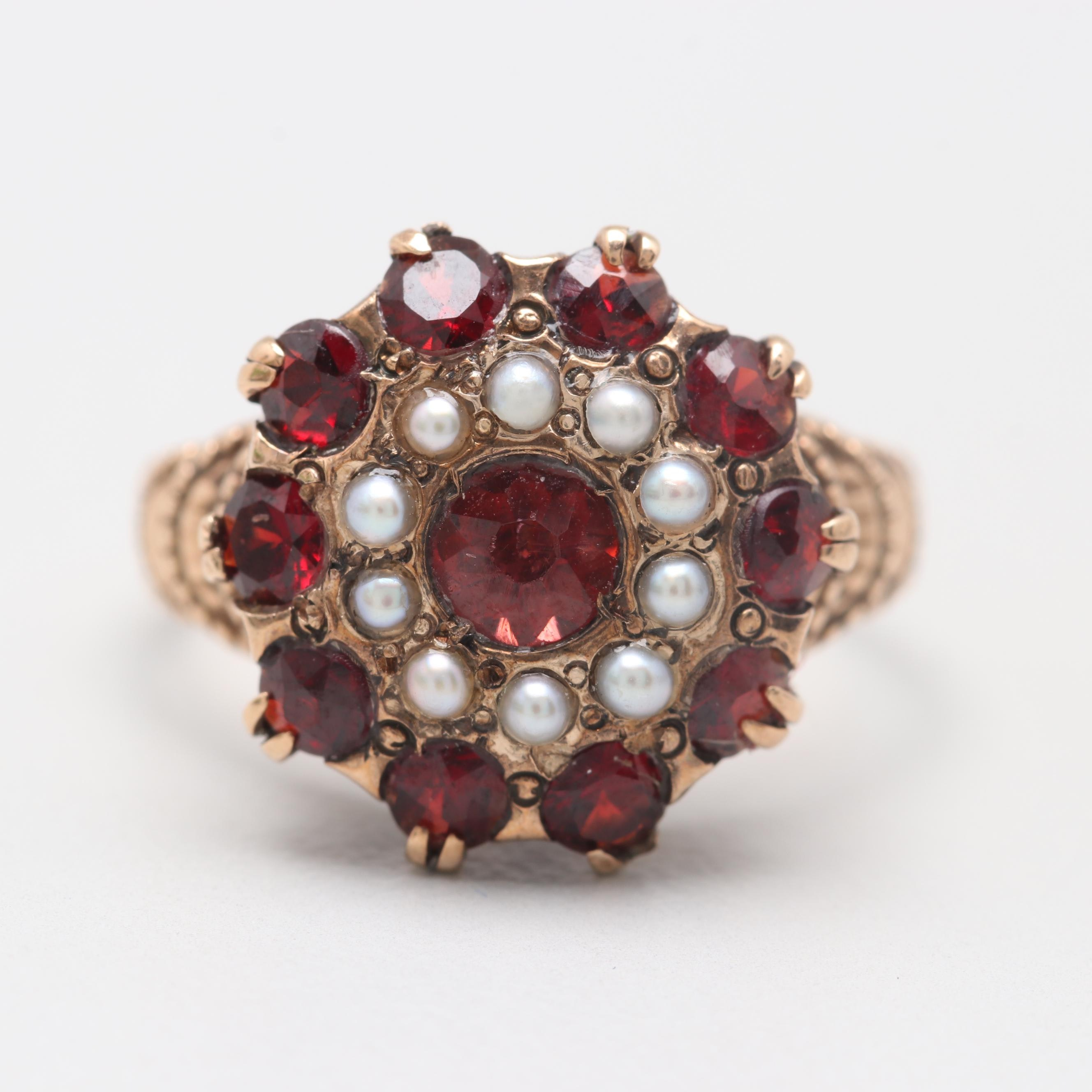 Victorian 10K Yellow Gold Garnet and Cultured Pearl Ring