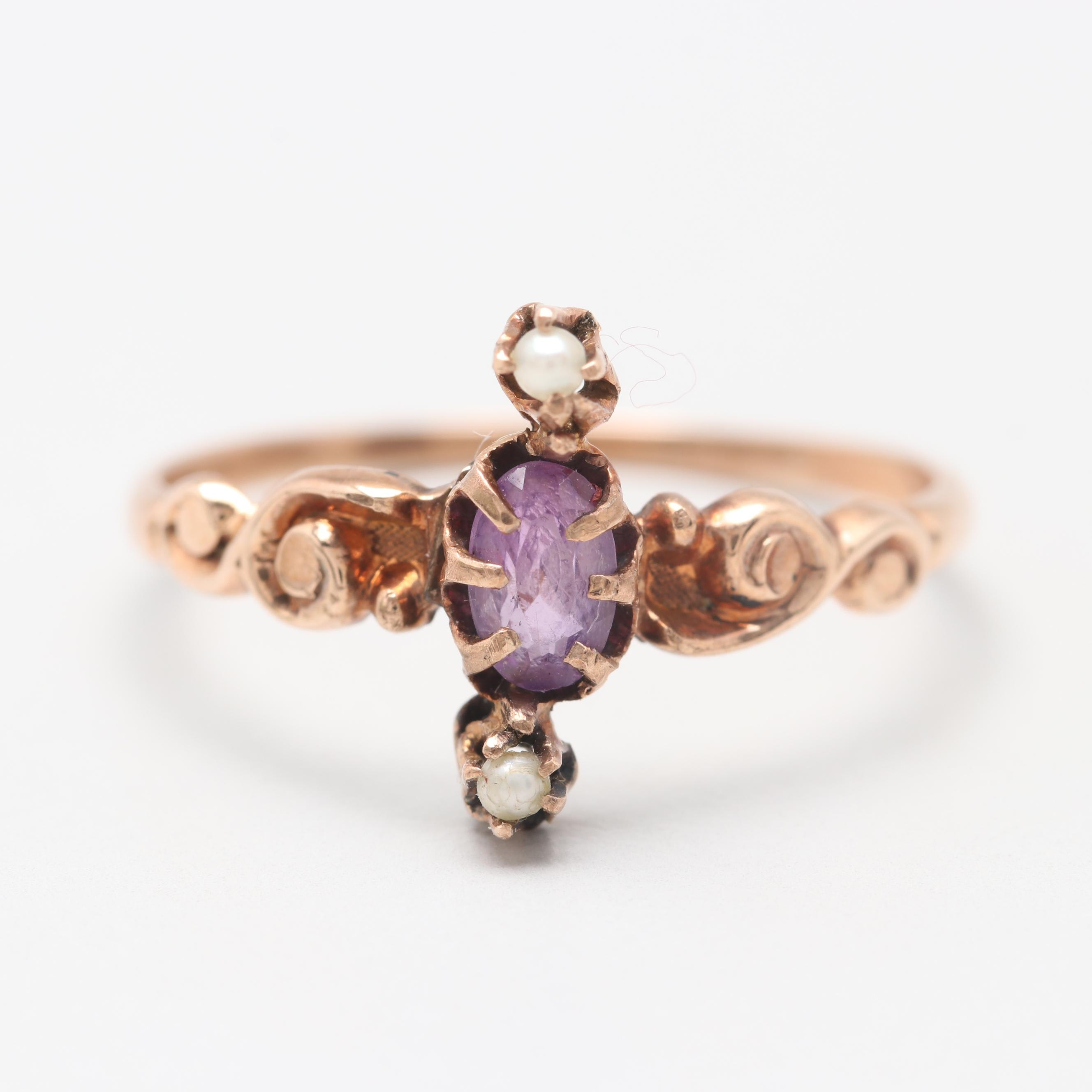 Victorian 10K Yellow Gold Amethyst and Cultured Pearl Ring