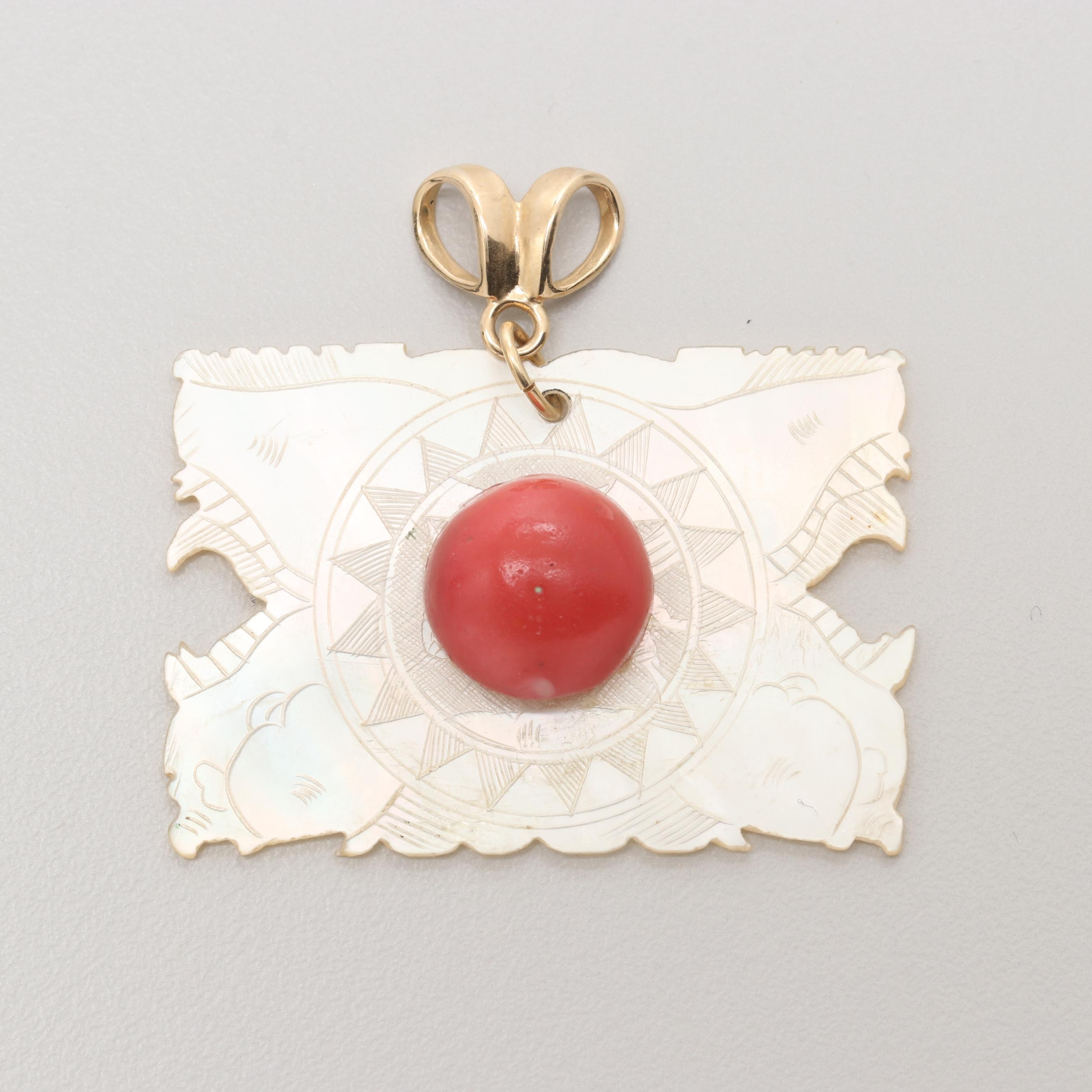 18K Yellow Gold Imitation Coral and Mother of Pearl Pendant
