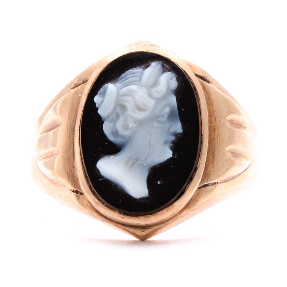Vintage 10K Yellow Gold Shell Cameo Ring