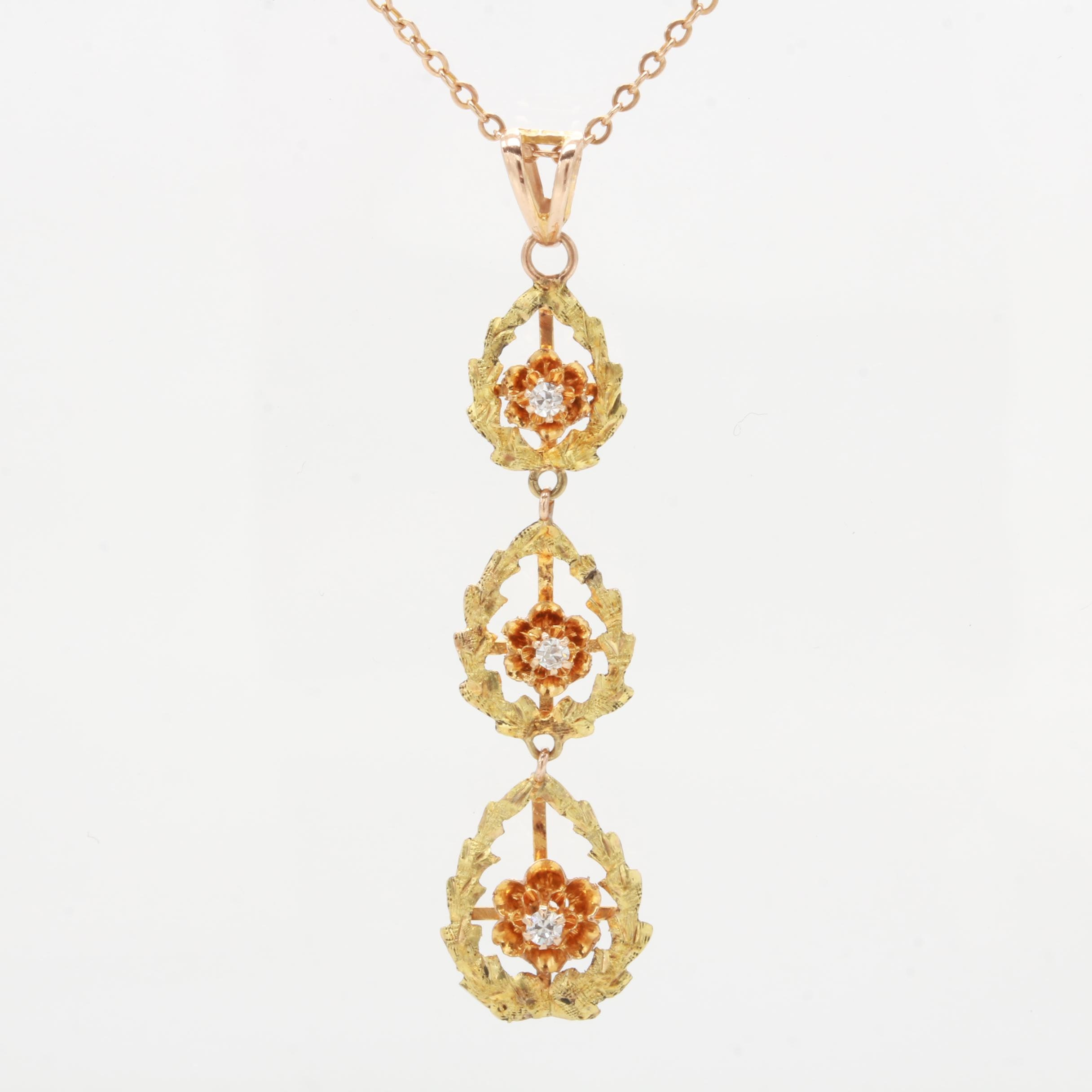 Victorian 10K Yellow and Rose Gold Buttercup Set Diamond Drop Necklace