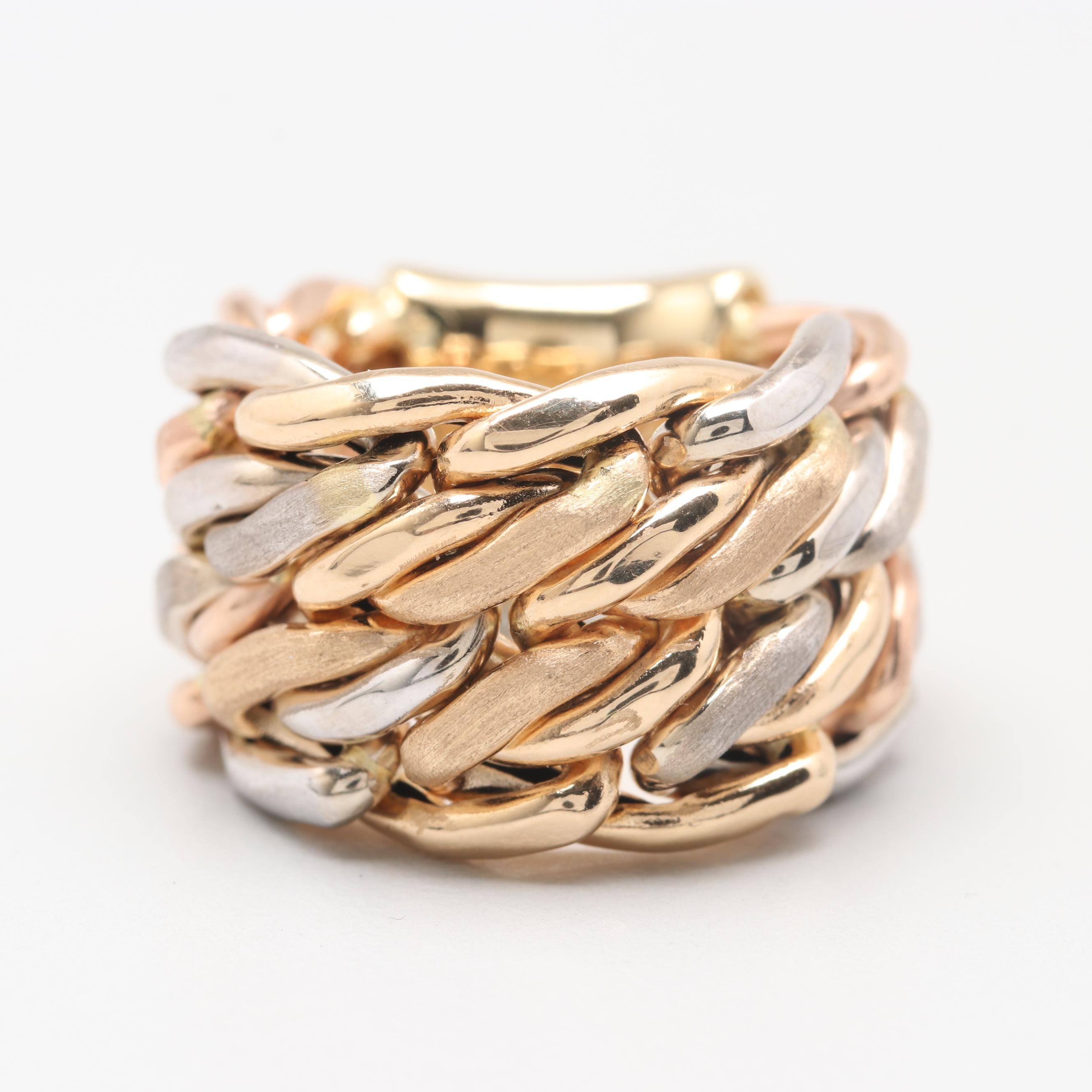 14K Yellow, Rose, and White Gold Chain Link Ring