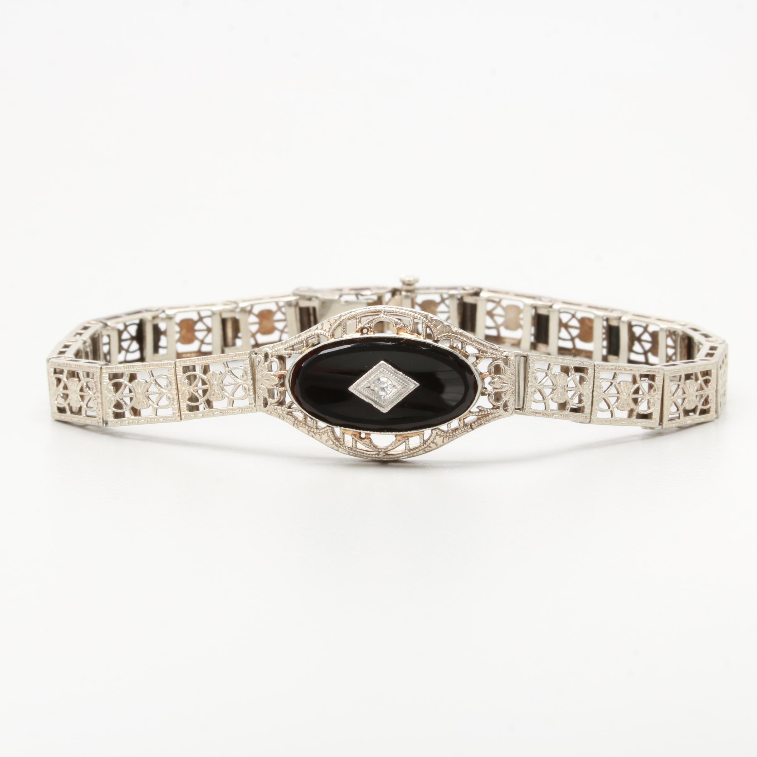 Art Deco 14K White Gold Black Onyx and Diamond Bracelet