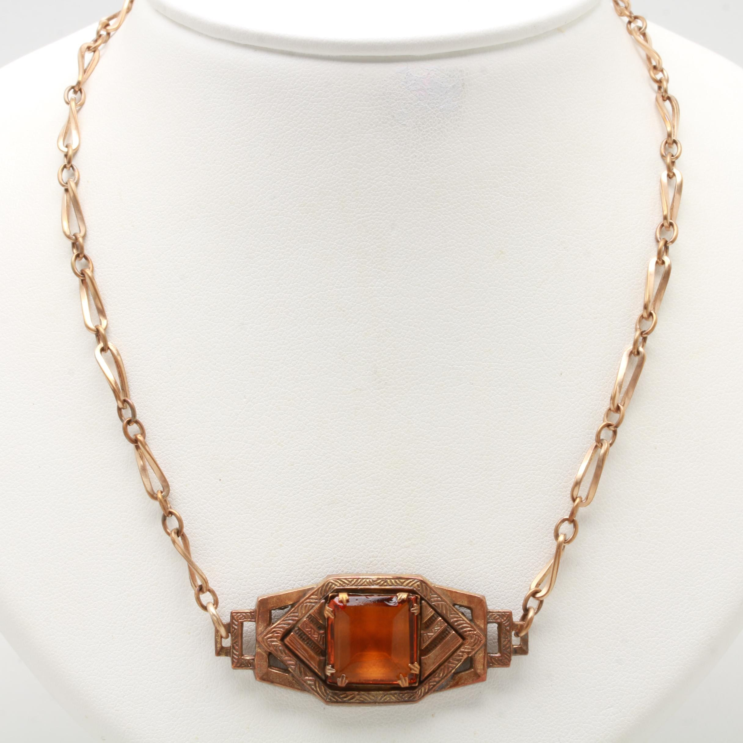 Art Deco Rose Gold Tone and Glass Pendant Necklace