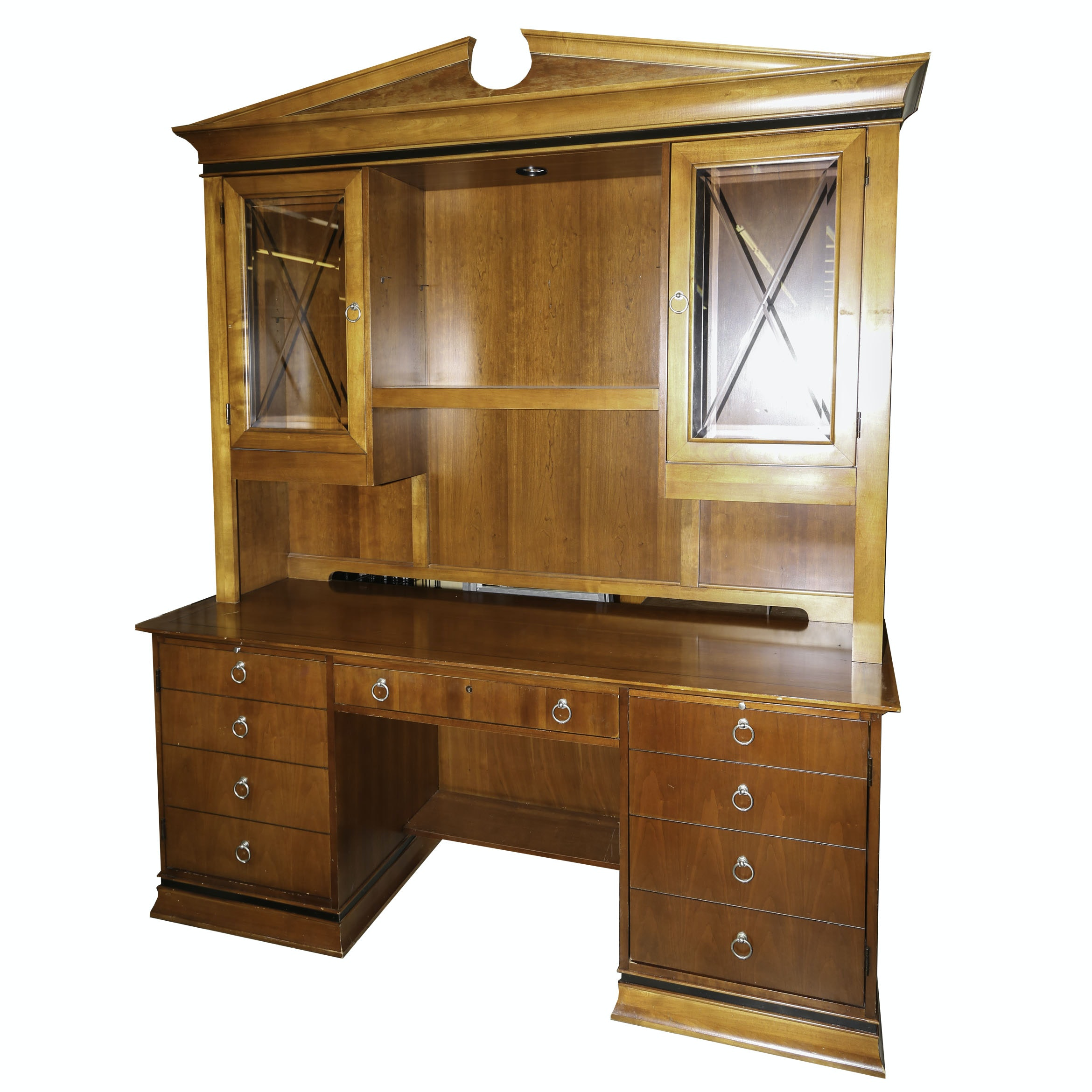 Federal Style Desk with Illuminated Hutch by Hooker Furniture, 20th Century