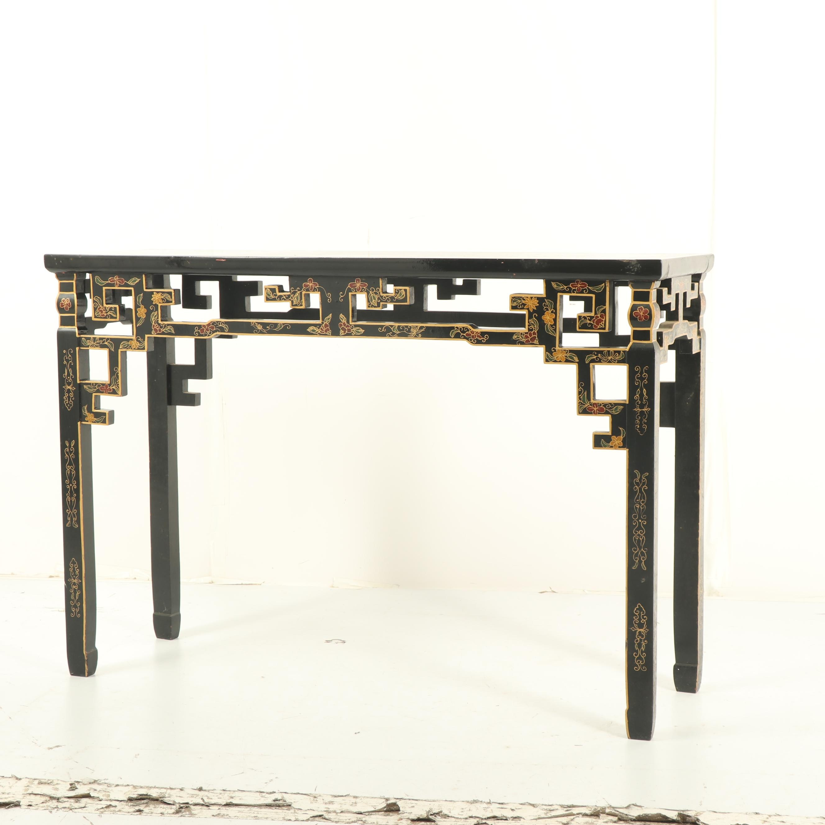 Chinese Black Lacquered Console Table, Mid 20th Century