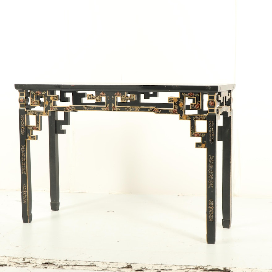 Chinese Black Lacquered Console Table Mid 20th Century