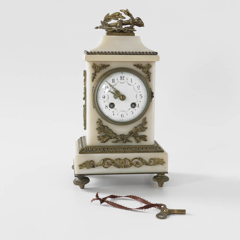 Antique Louis XVI Style Gilt-Metal Mounted and White Marble Mantel Clock
