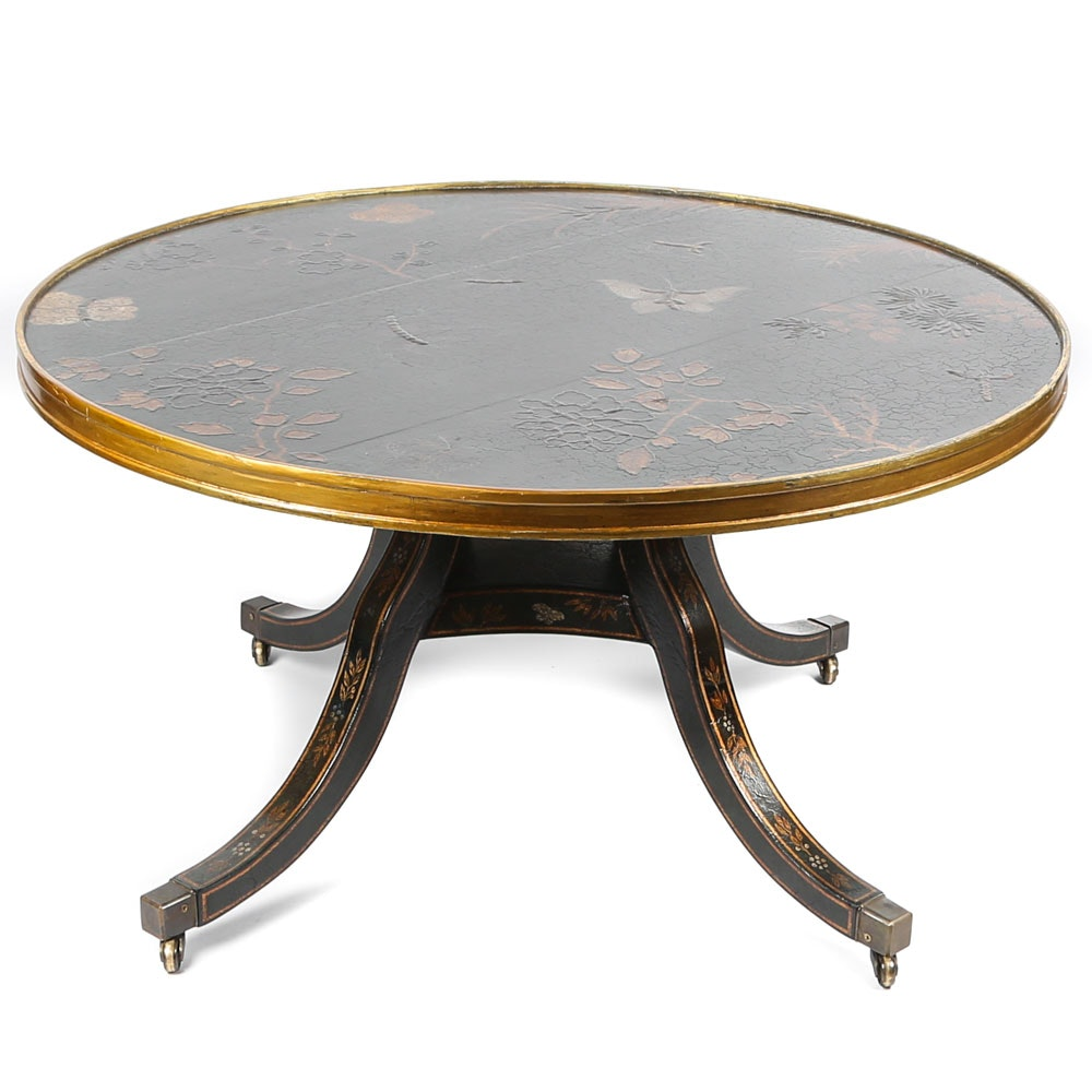 Tooled Leather and Tole Painted Coffee Table