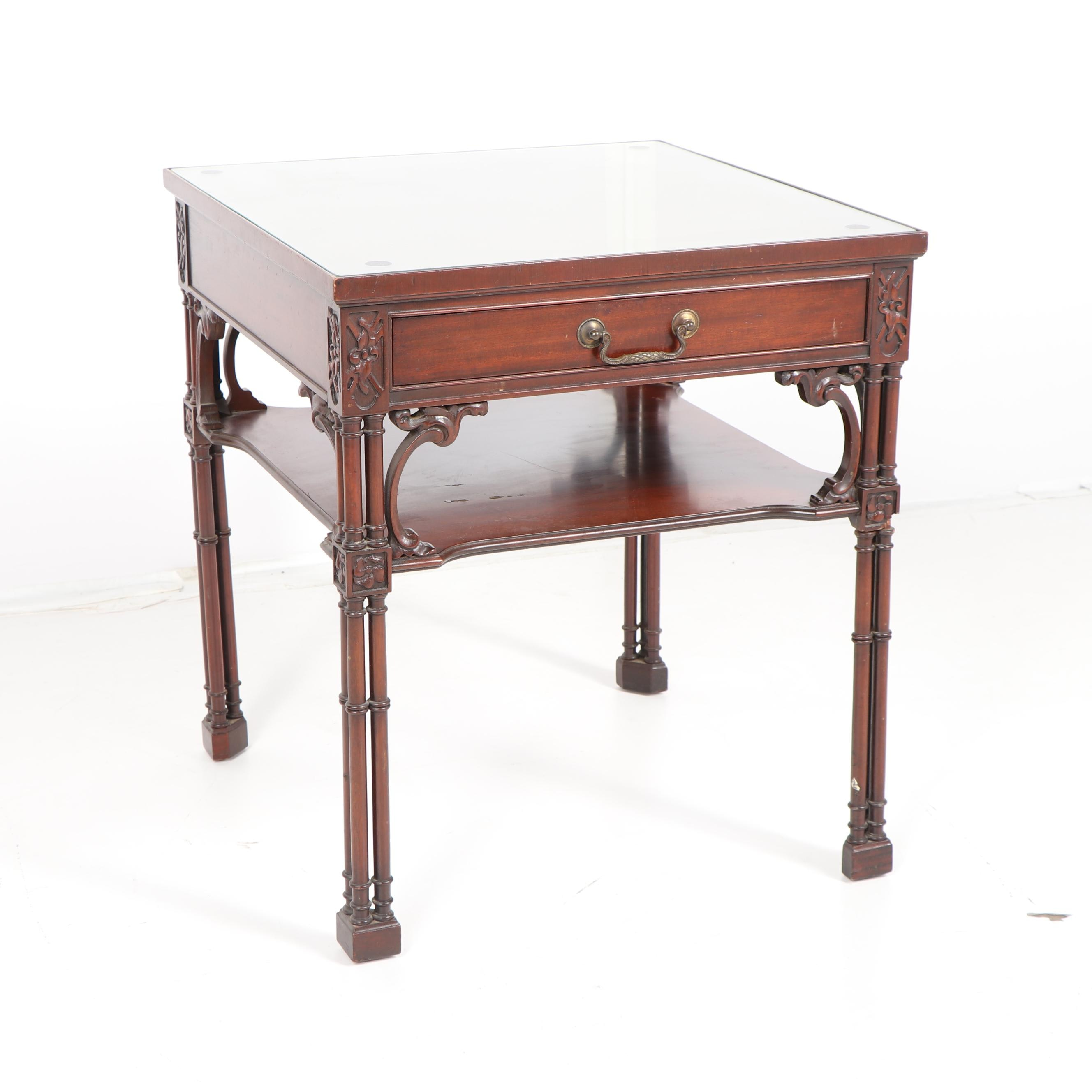Victorian Style Mahogany End Table with Drawer by Imperial, Mid 20th Century