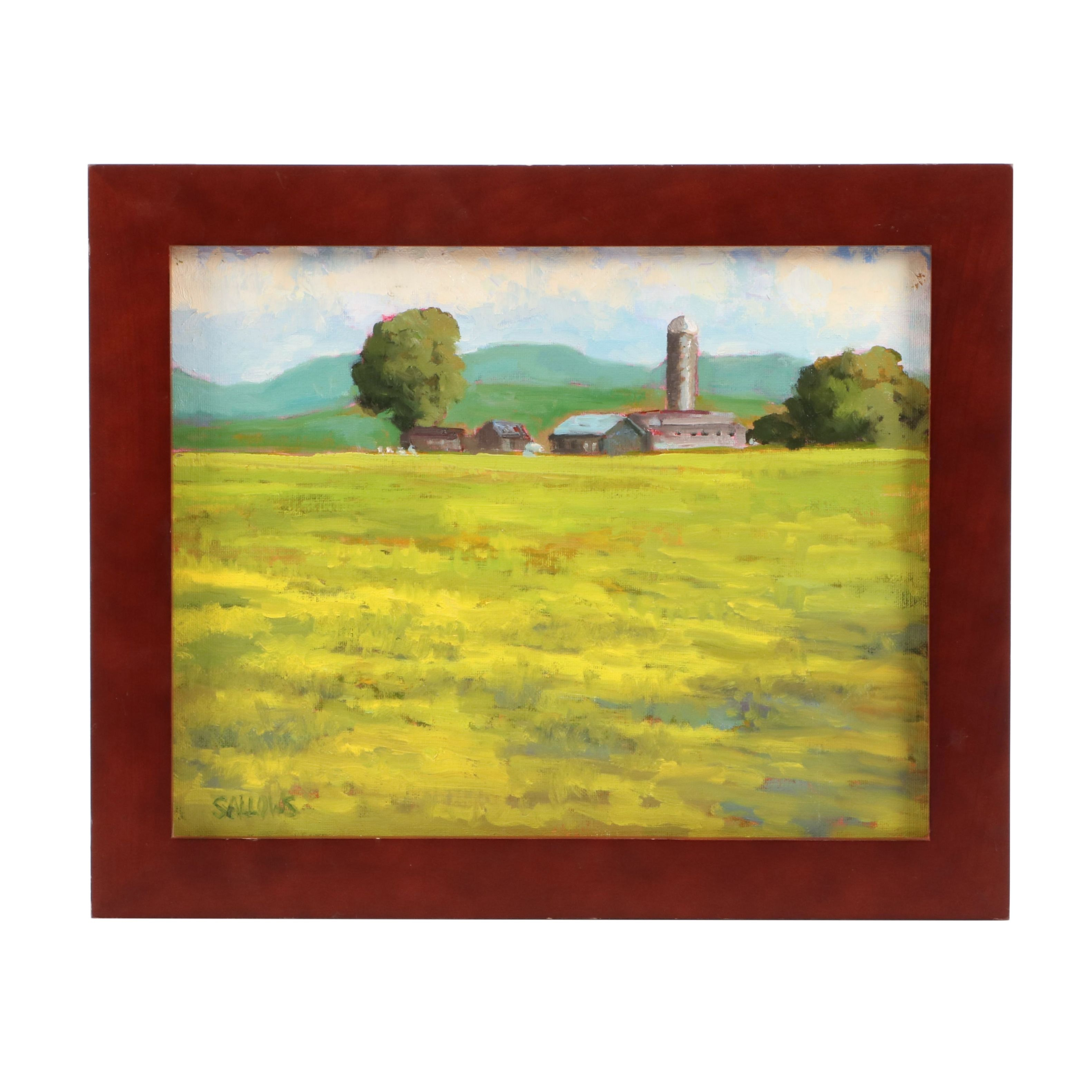 Nora Sallows Oil Painting of Pastoral Landscape