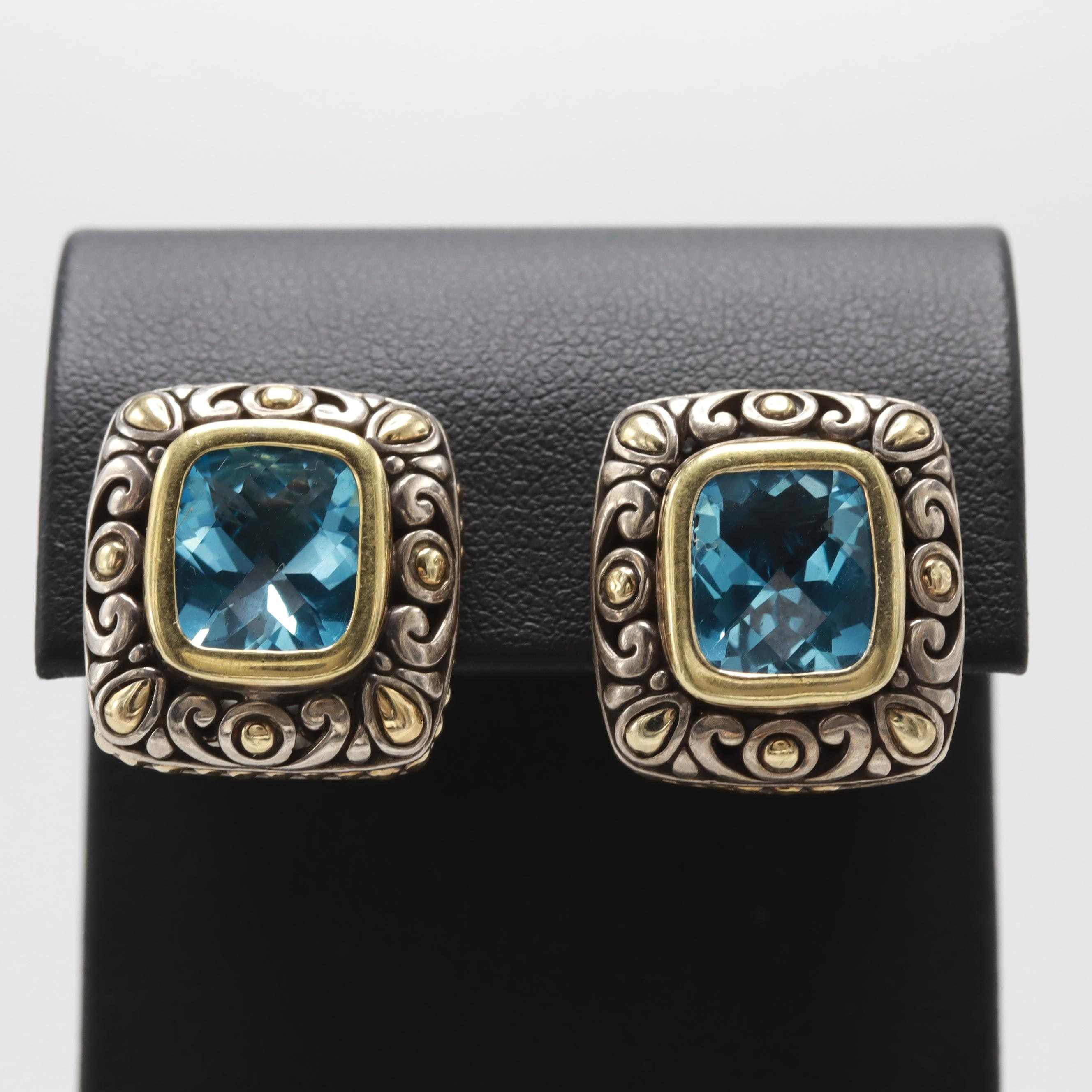 "John Hardy ""Jaisalmer"" Sterling Silver and 18K Gold Blue Topaz Earrings"