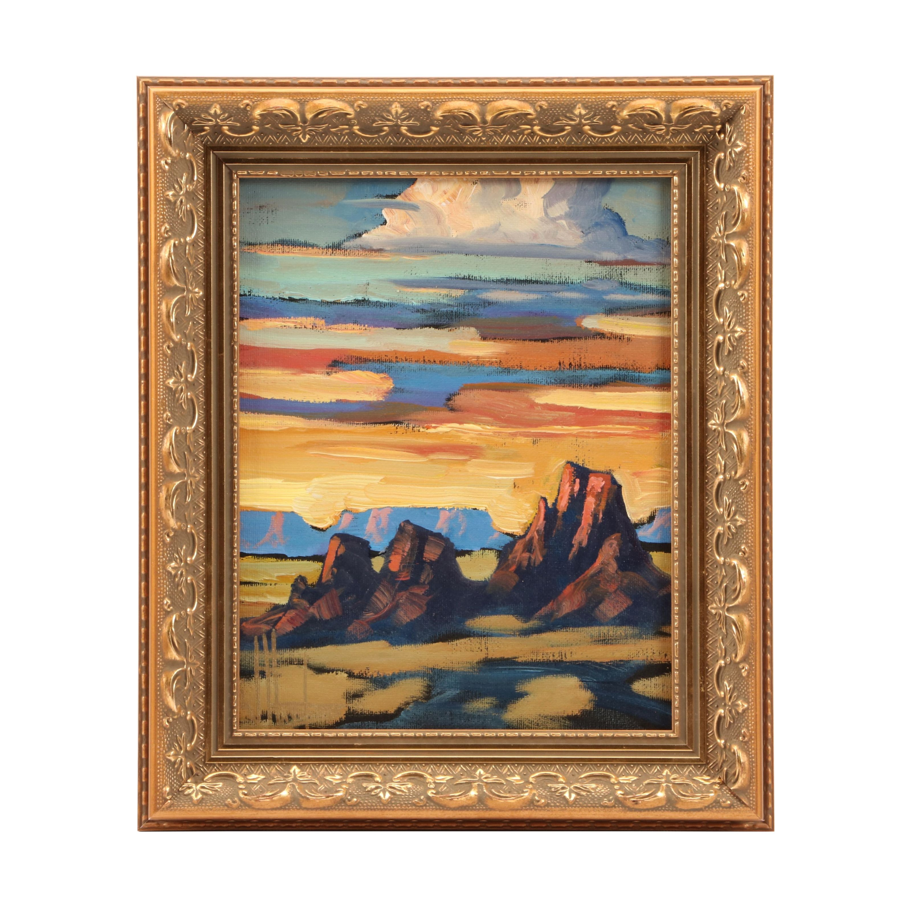 William Hawkins Oil Painting of Western Landscape