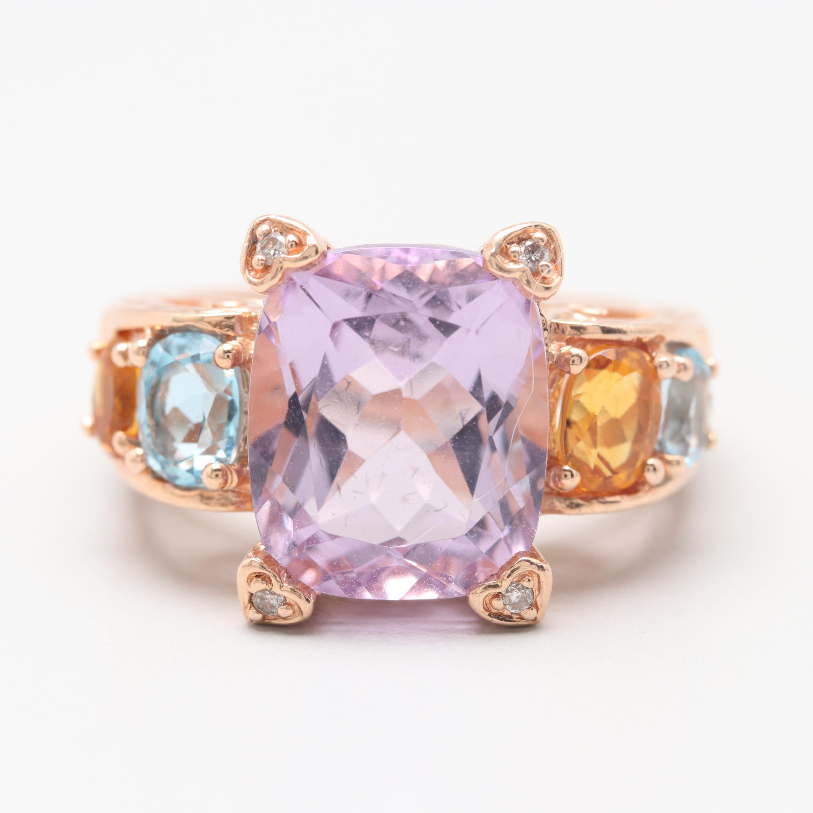 14K Rose Gold Amethyst, Citrine, Topaz, and Diamond Ring