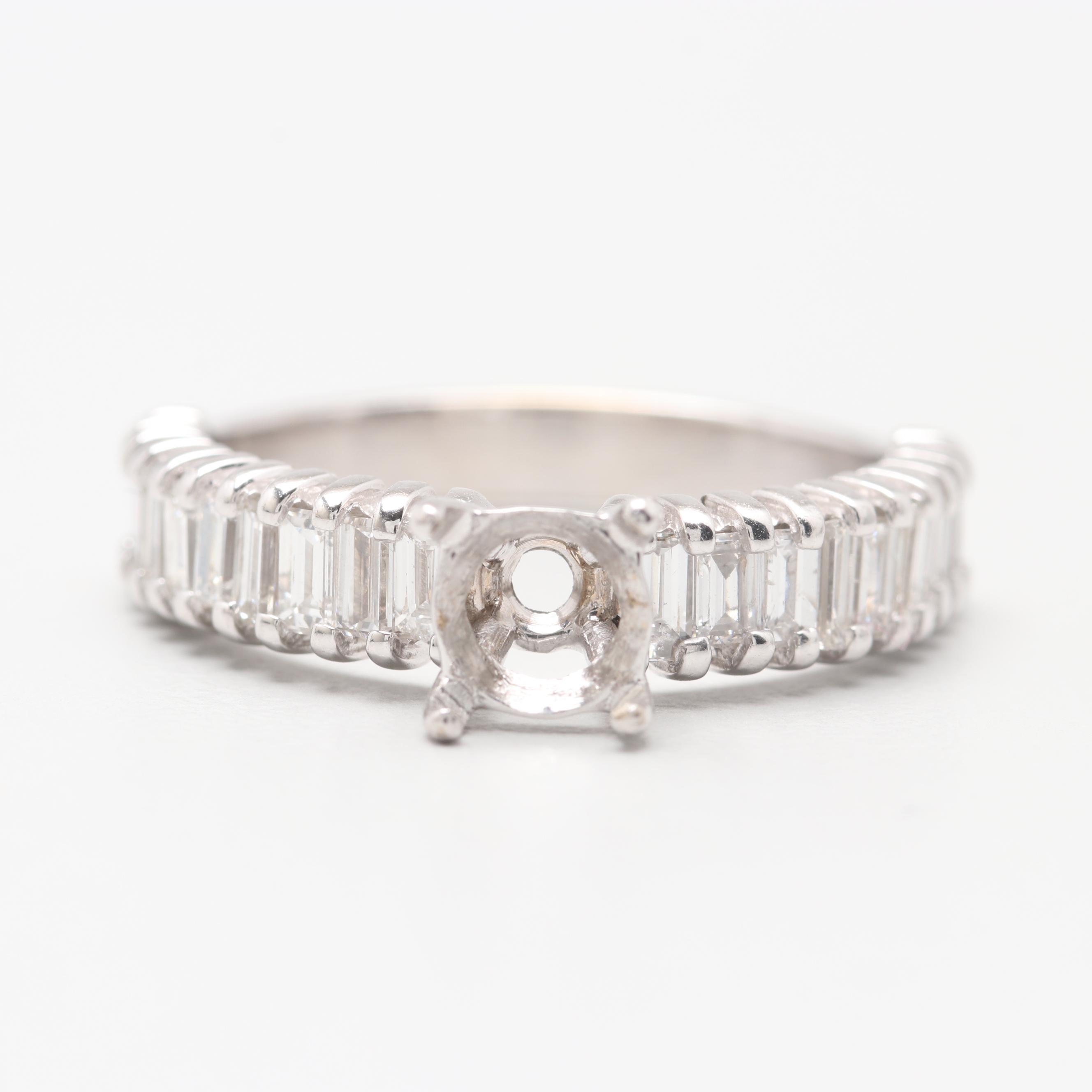 18K White Gold 1.10 CTW Diamond Semi-Mount Ring