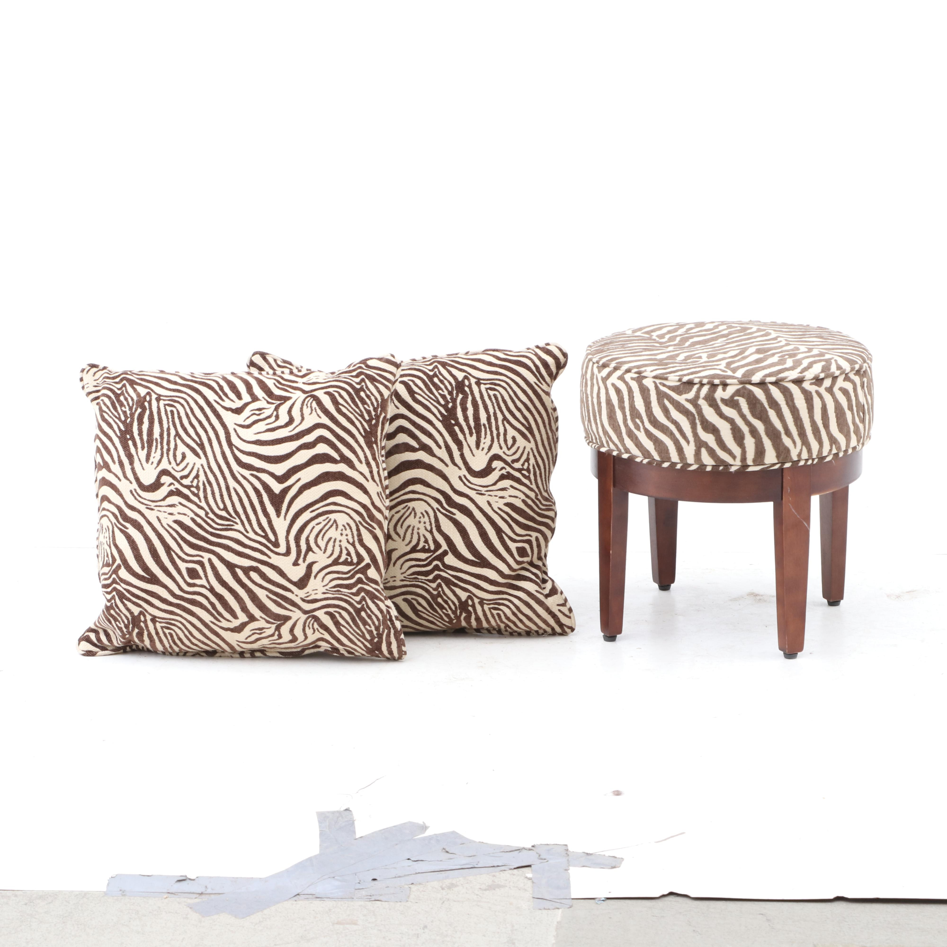 Contemporary Animal Print Footstool and Pillows