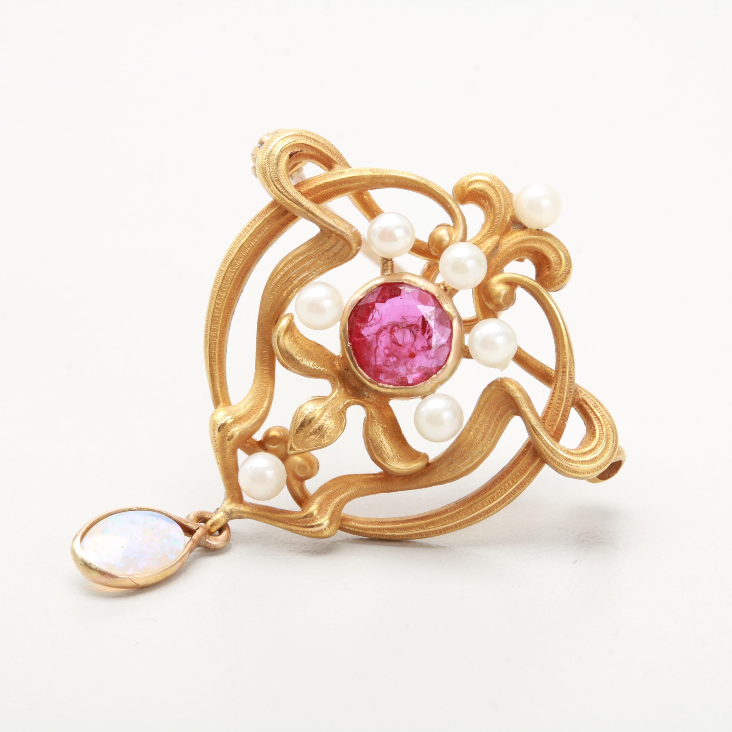 14K Yellow Gold Opal, Corundum and Cultured Pearl Art Nouveau Converter Brooch