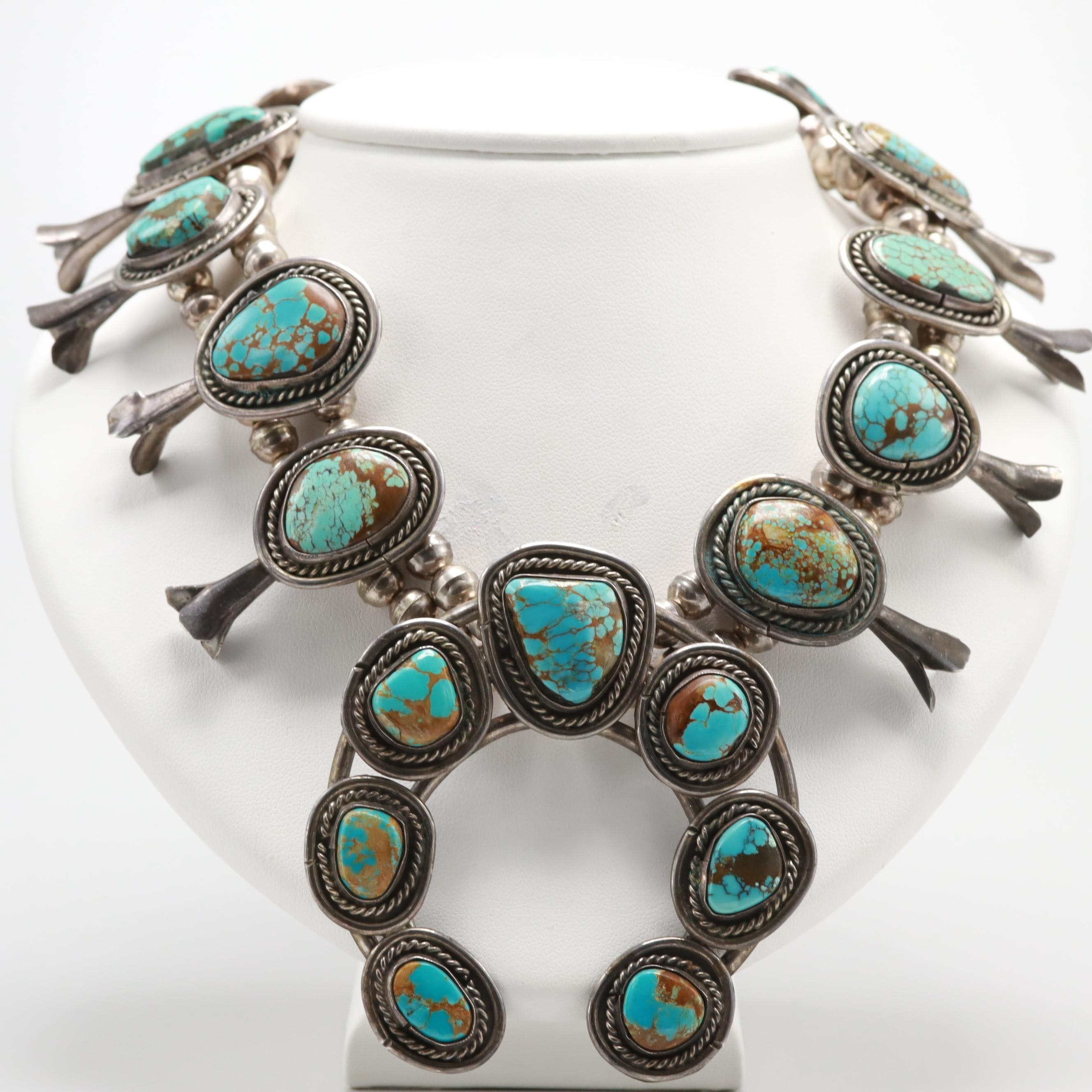 Southwestern Style 900 Silver Turquoise Necklace