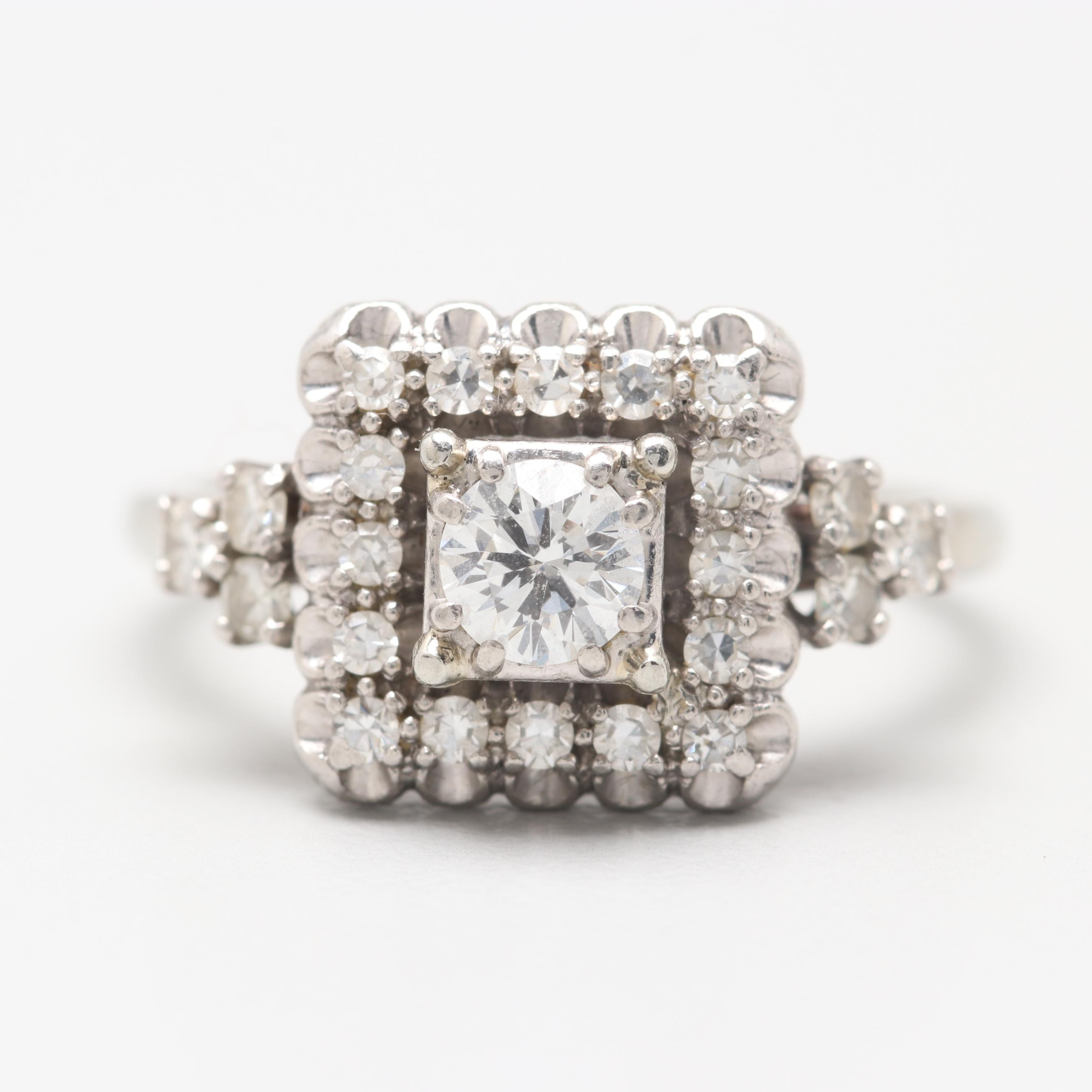 Jabel 18K White Gold Diamond Ring with Palladium Accent