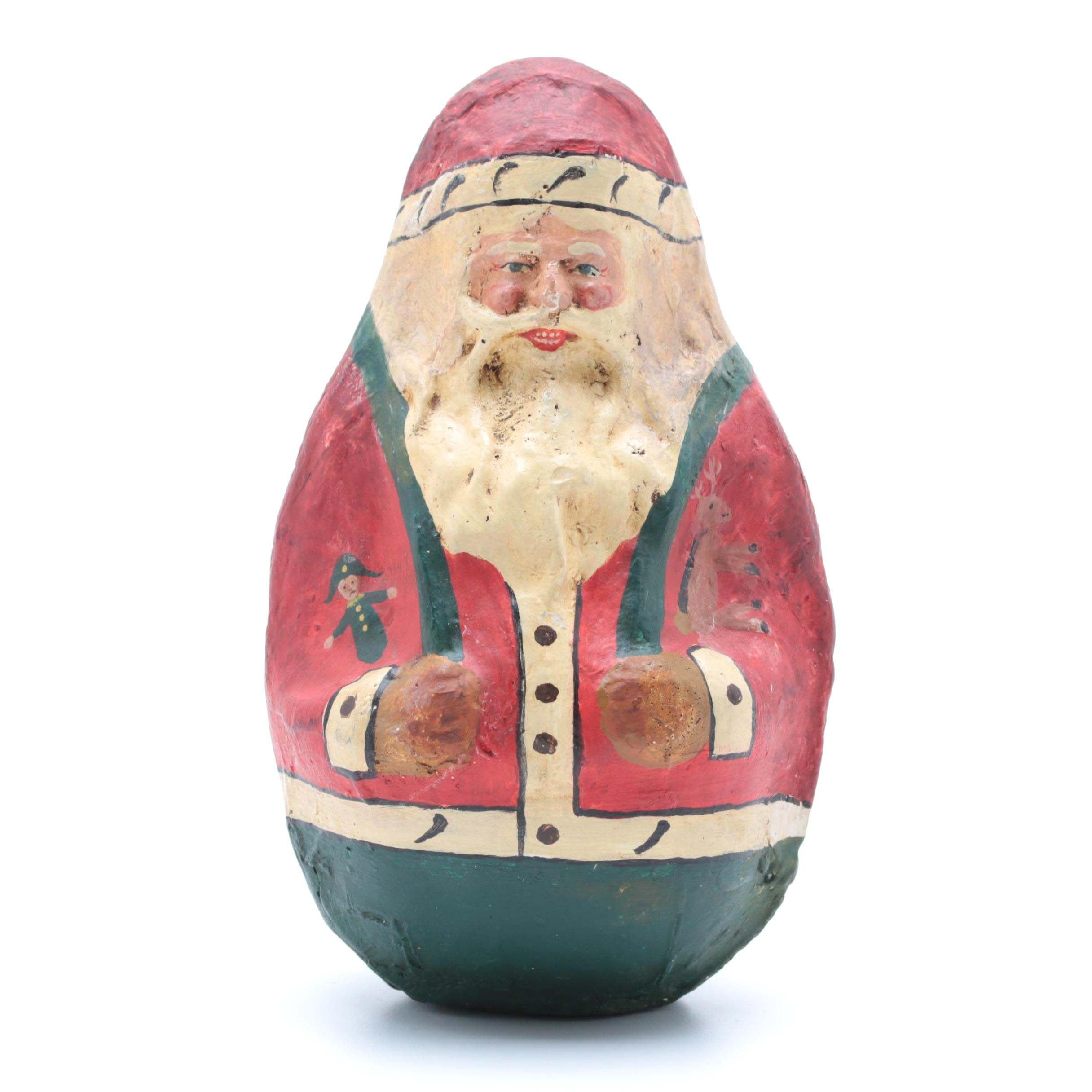 Vintage Roly Poly Papier-Mâché Santa in the Style of Shoenhut