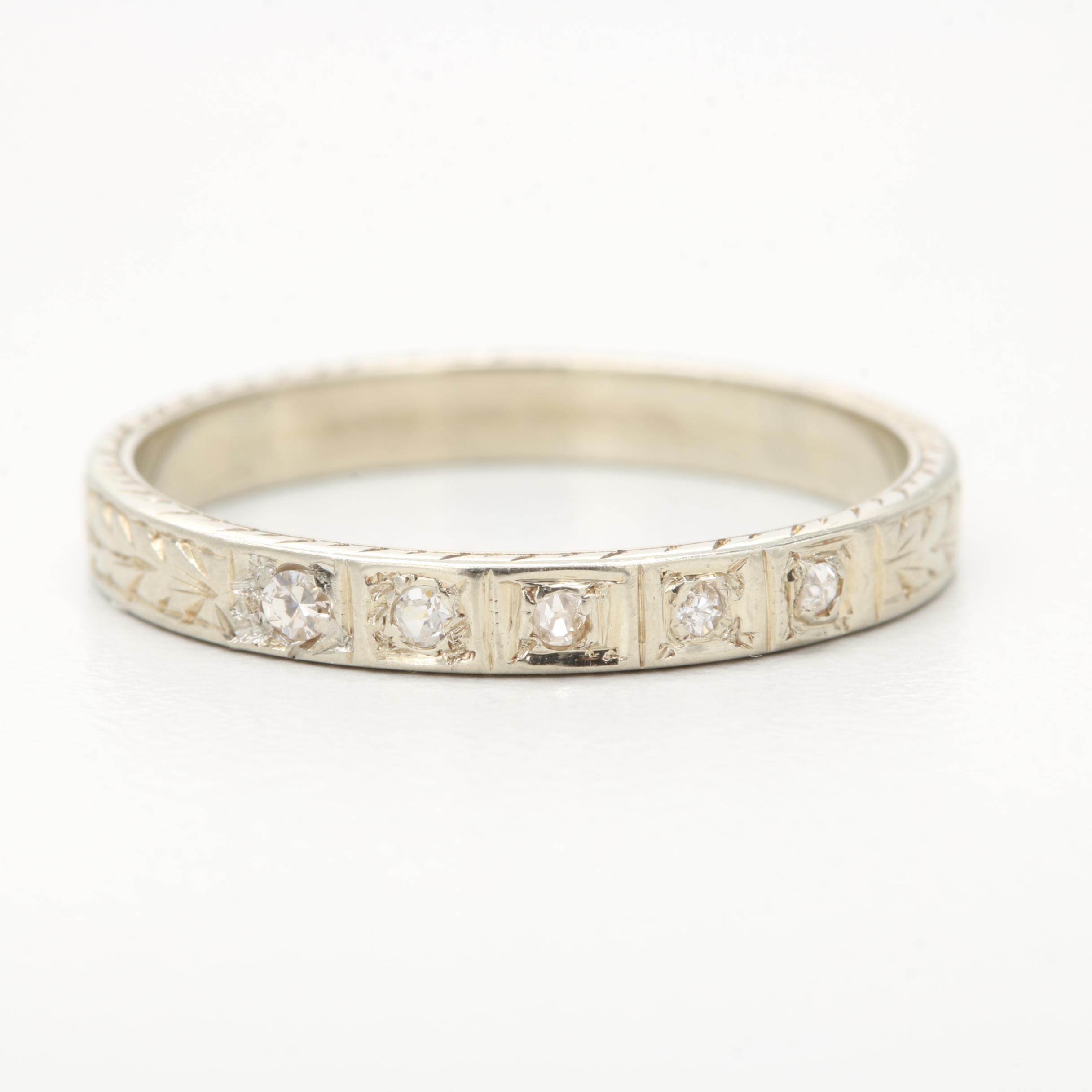 Art Deco 18K White Gold Diamond Ring Including White Sapphire