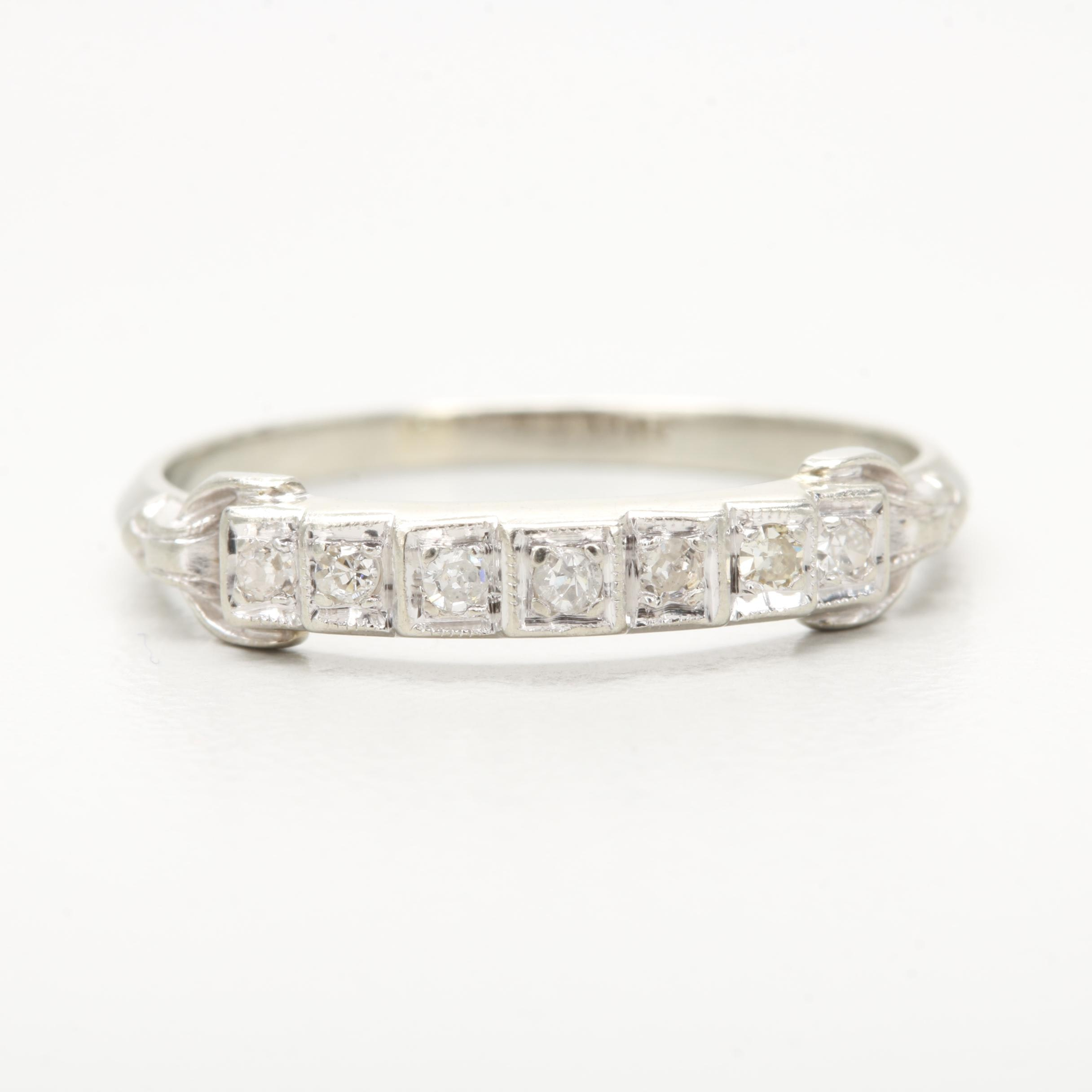 Art Deco 18K White Gold Diamond Ring