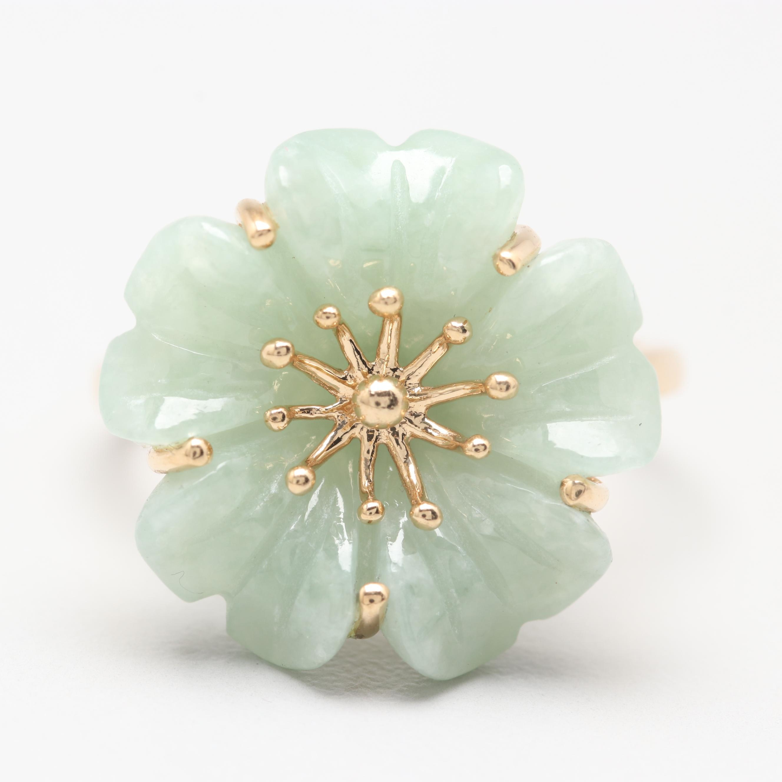14K Yellow Gold Jadeite Floral Ring