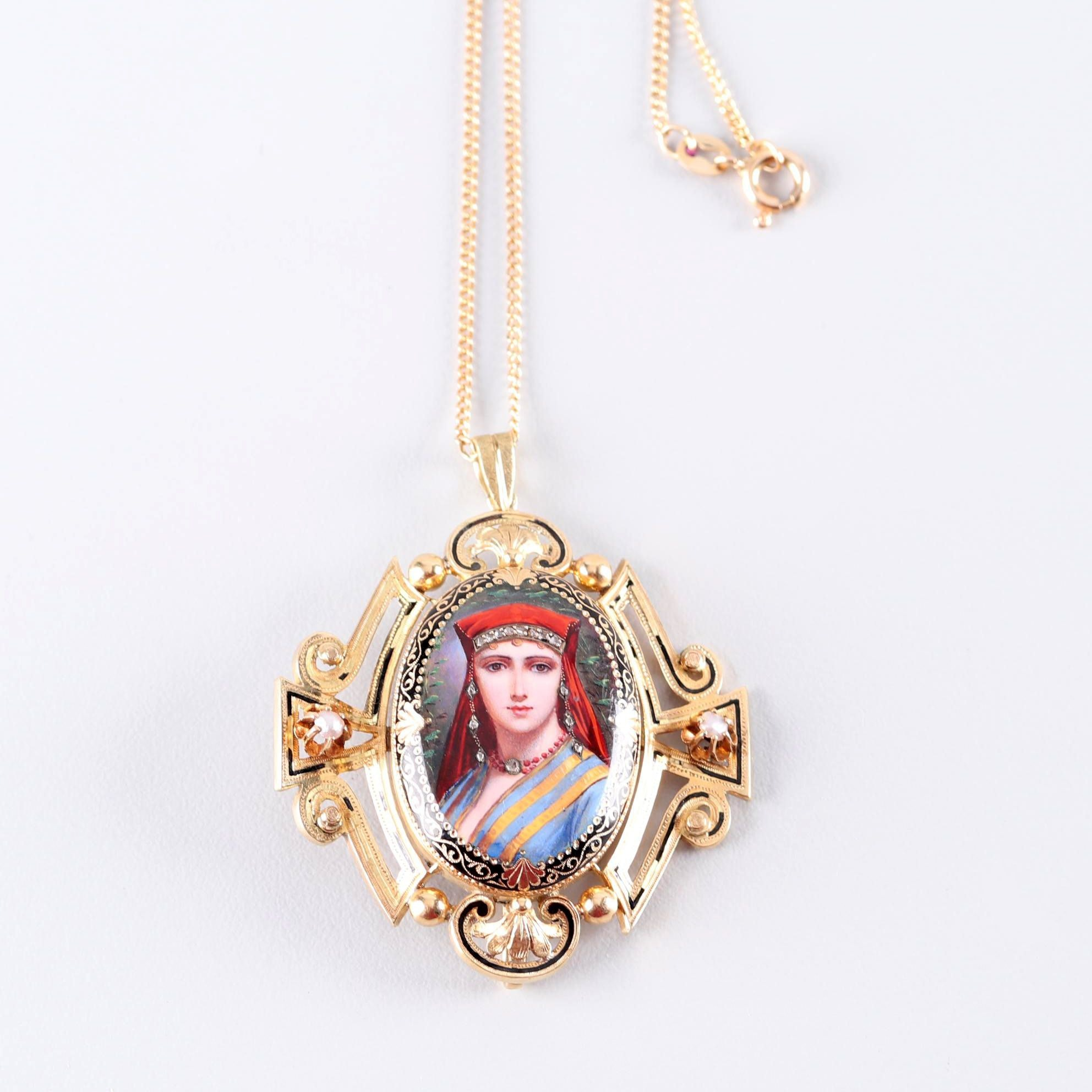 Egyptian Revival Portrait Pendant With Rose Cut Diamonds, 14K Yellow Gold Chain