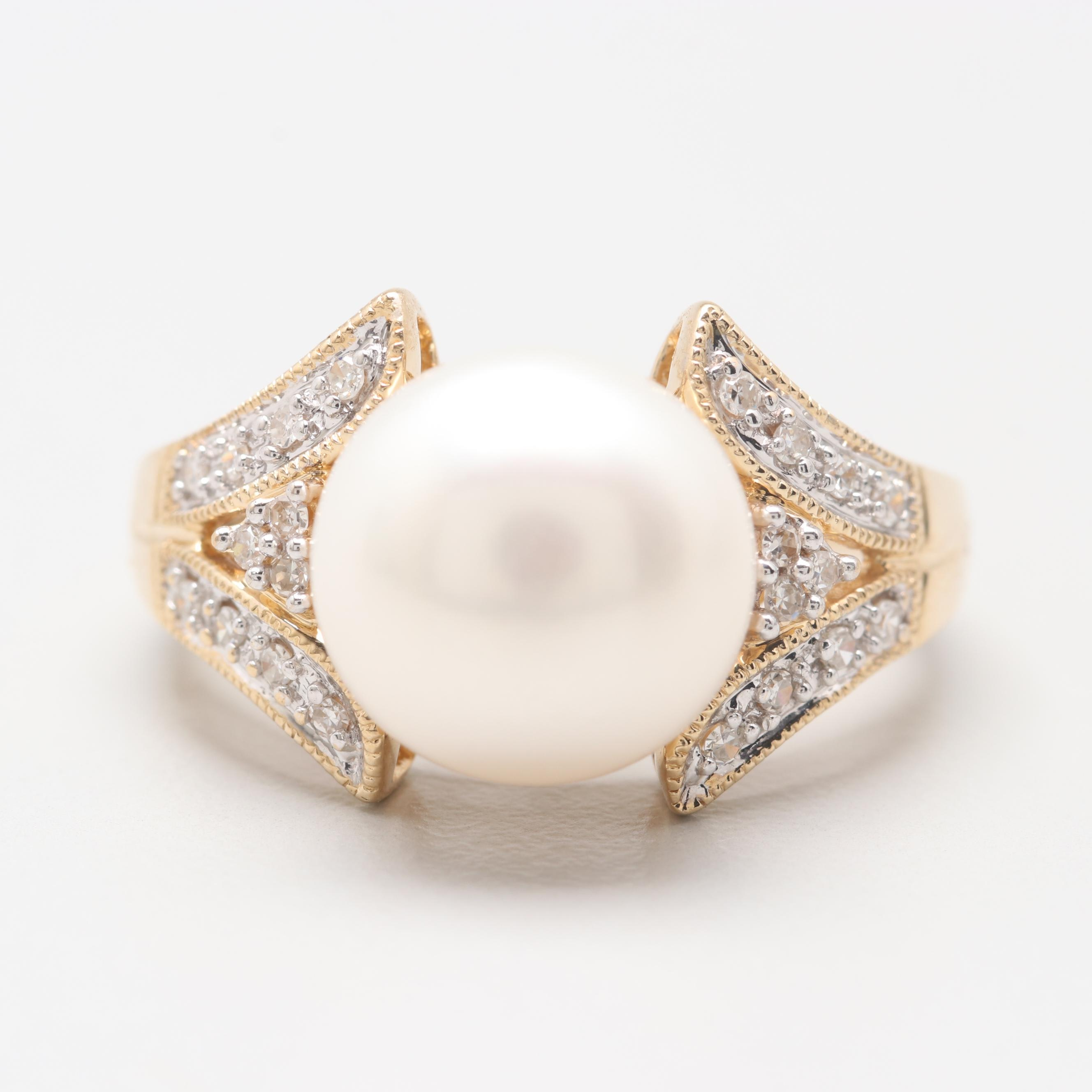 Alwand Vahan 14K Yellow Gold Cultured Pearl and Diamond Ring