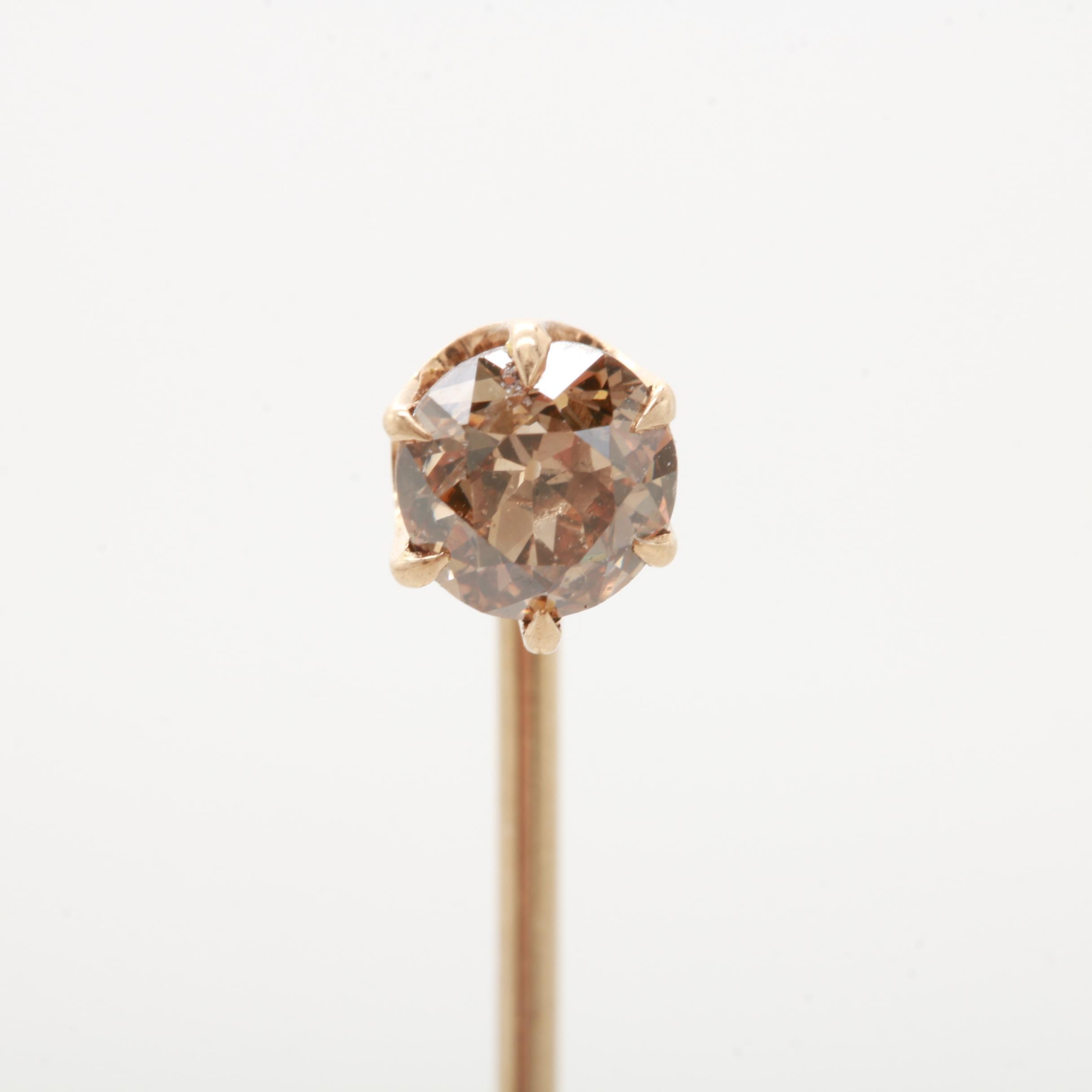 Antique 10K Yellow Gold Glass Stickpin