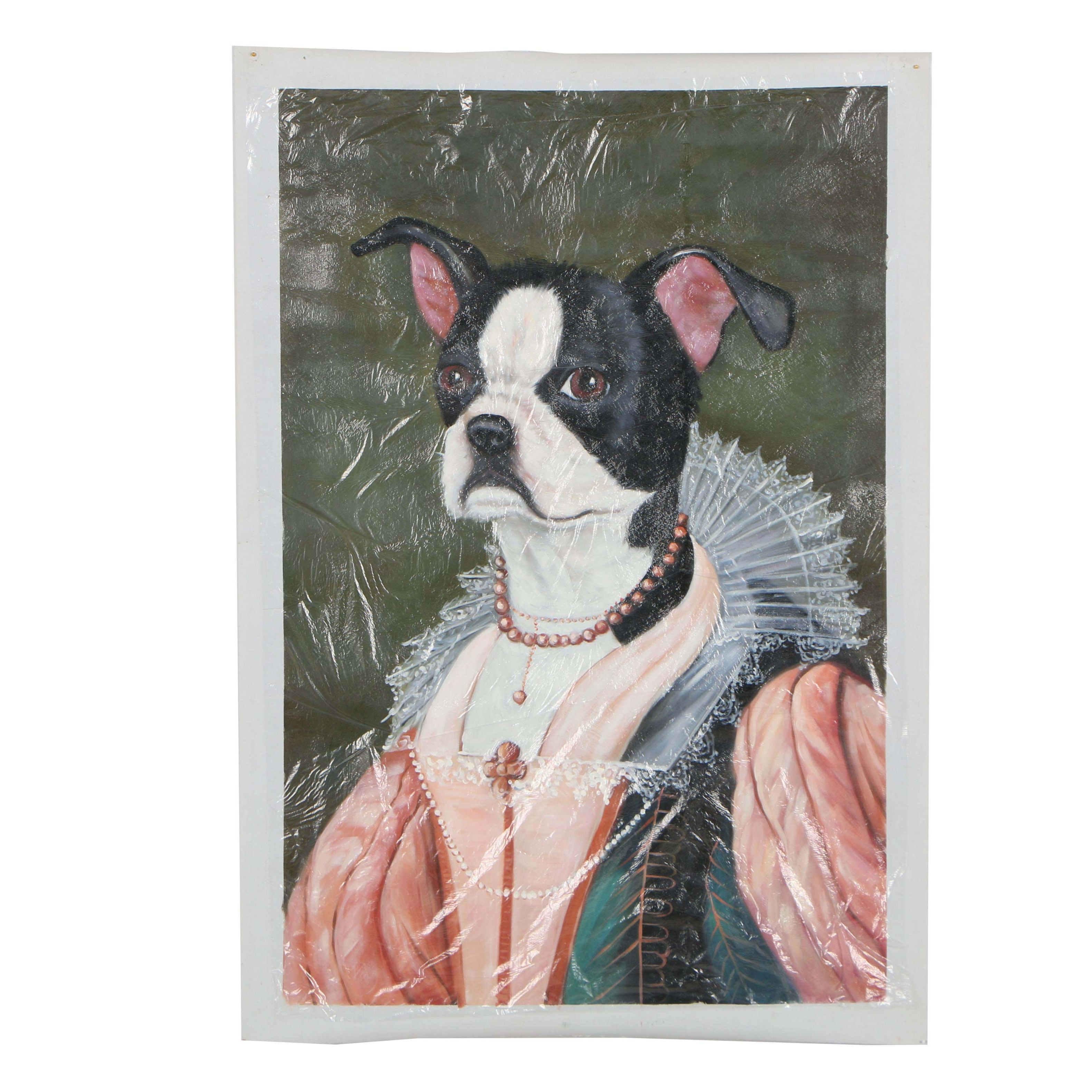 """Copy Oil Painting after Carol Lew Painting """"Mitzy the Boston Terrier"""""""