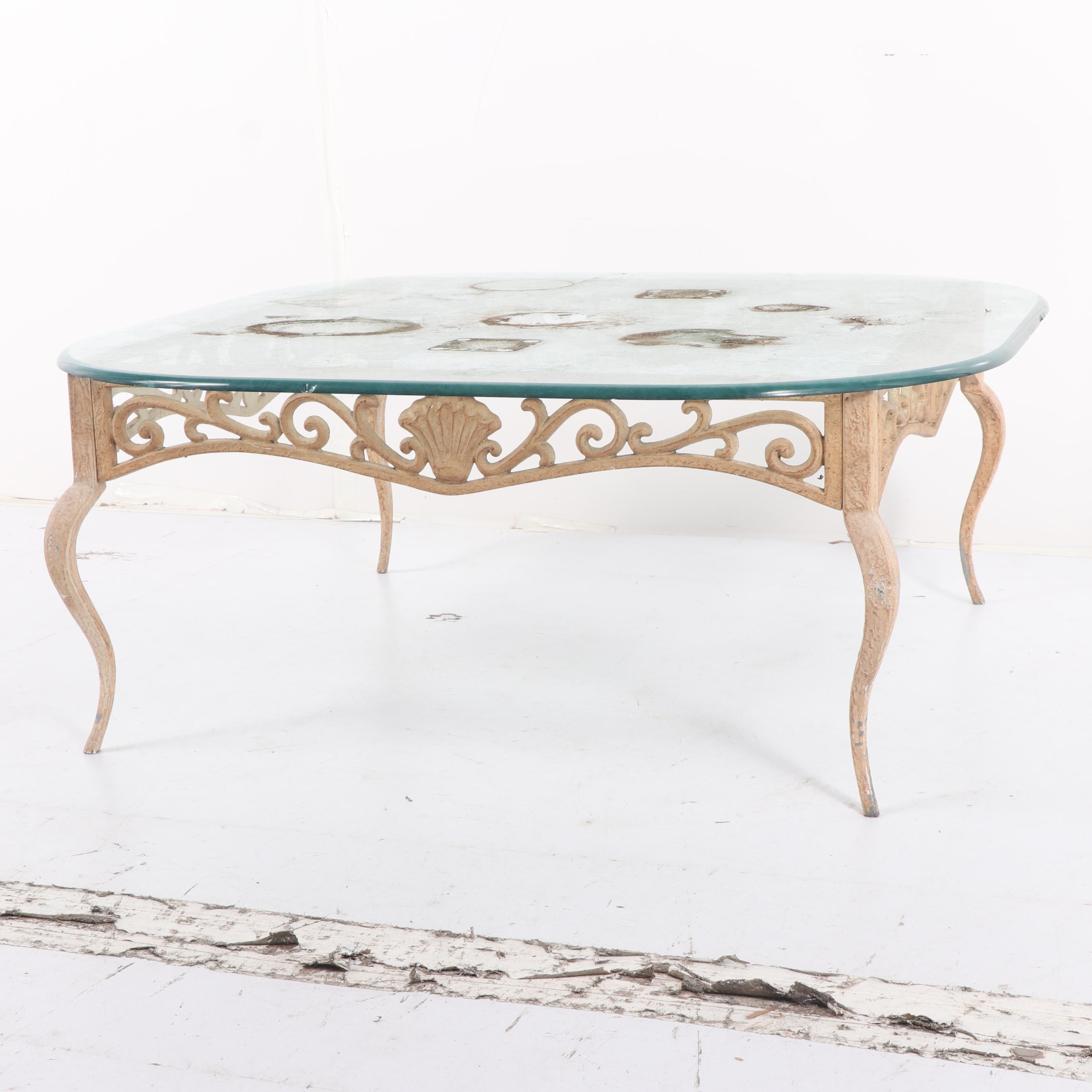 Shell and Arabesque Motif Wrought Iron Coffee Table with Glass Top