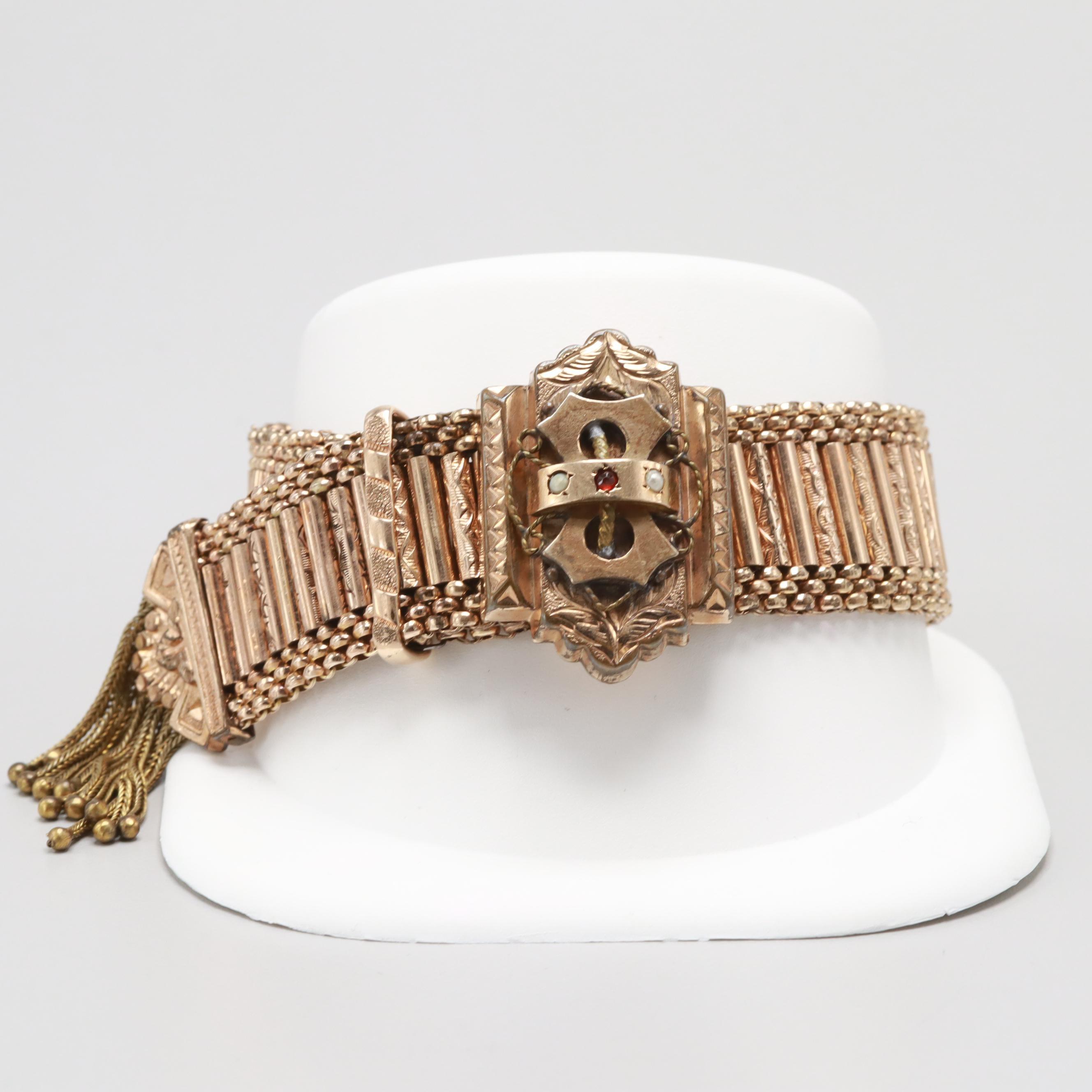 Victorian Gold Tone Garnet and Seed Pearl Slide Bracelet