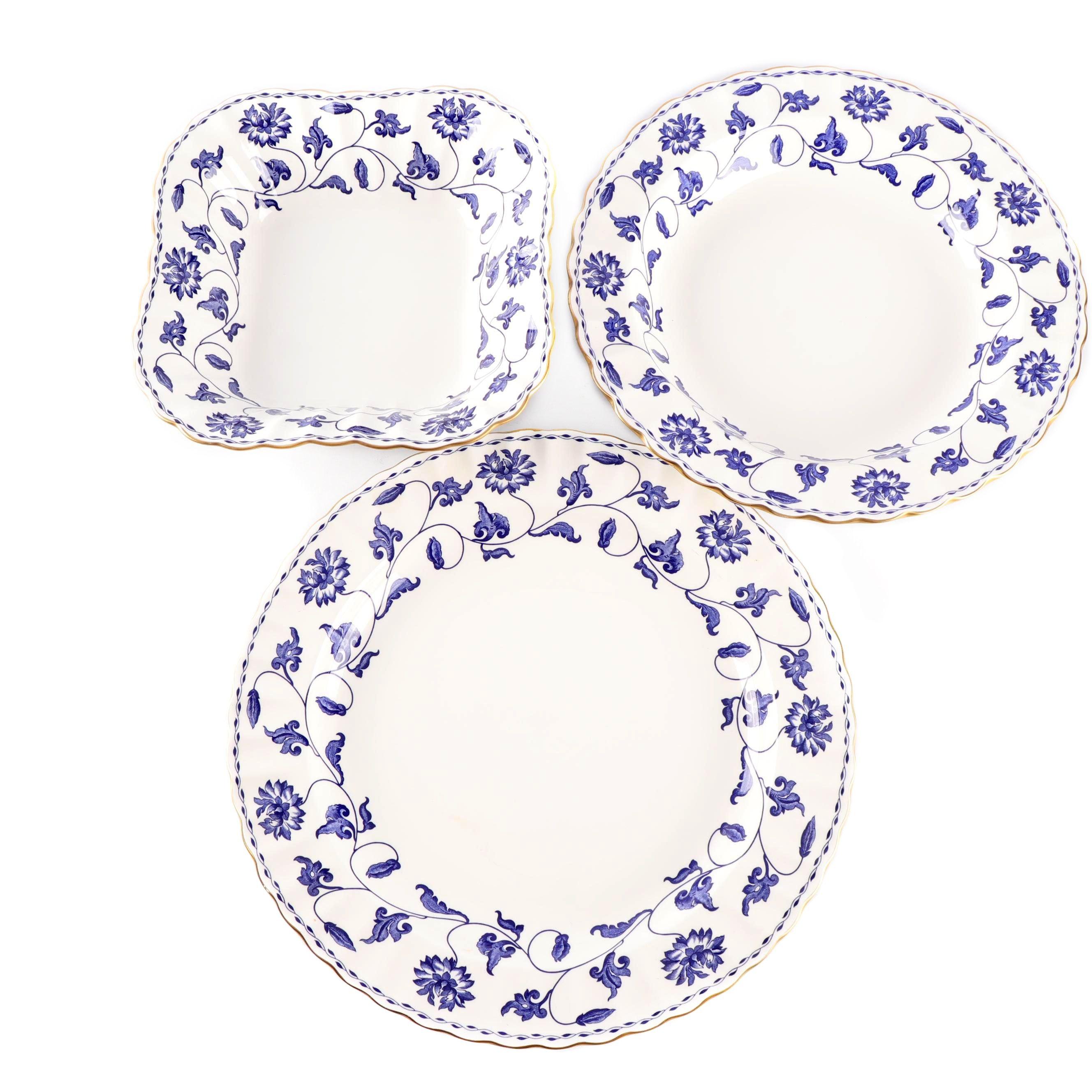 "Three Spode Porcelain ""Colonel-Blue"" Serving Bowls"