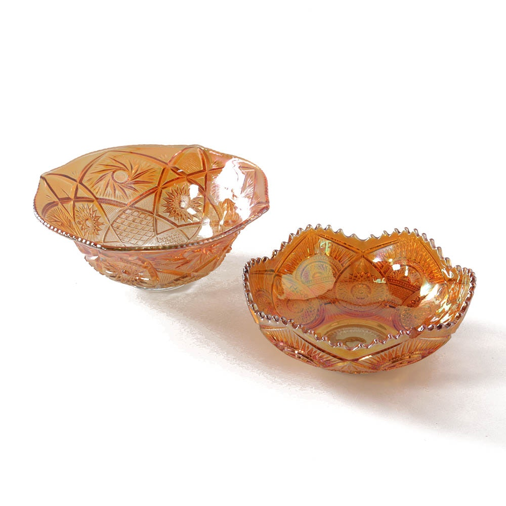 Carnival Glass Centerpiece Bowls in Marigold