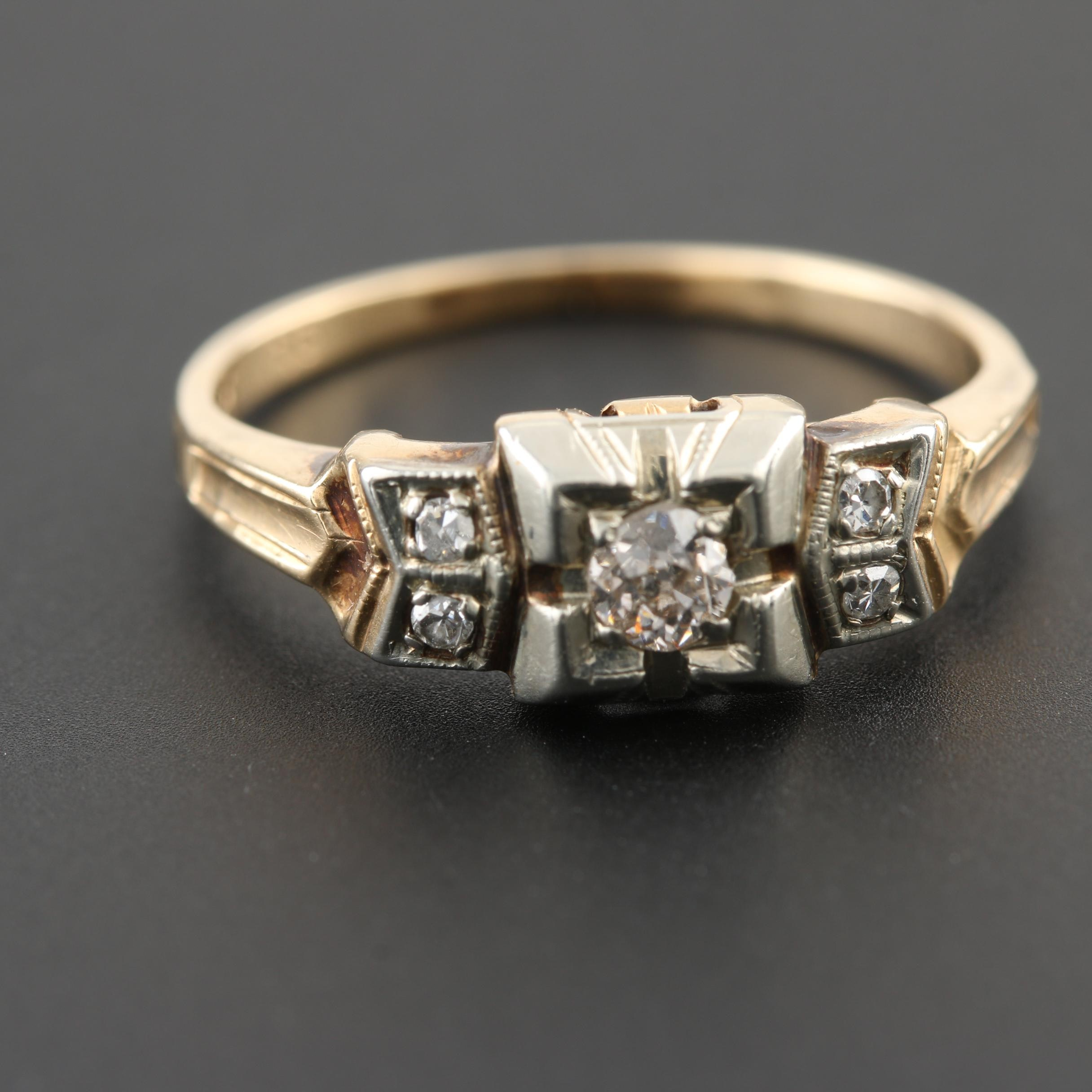 Late Edwardian 14K Yellow Gold Diamond Ring