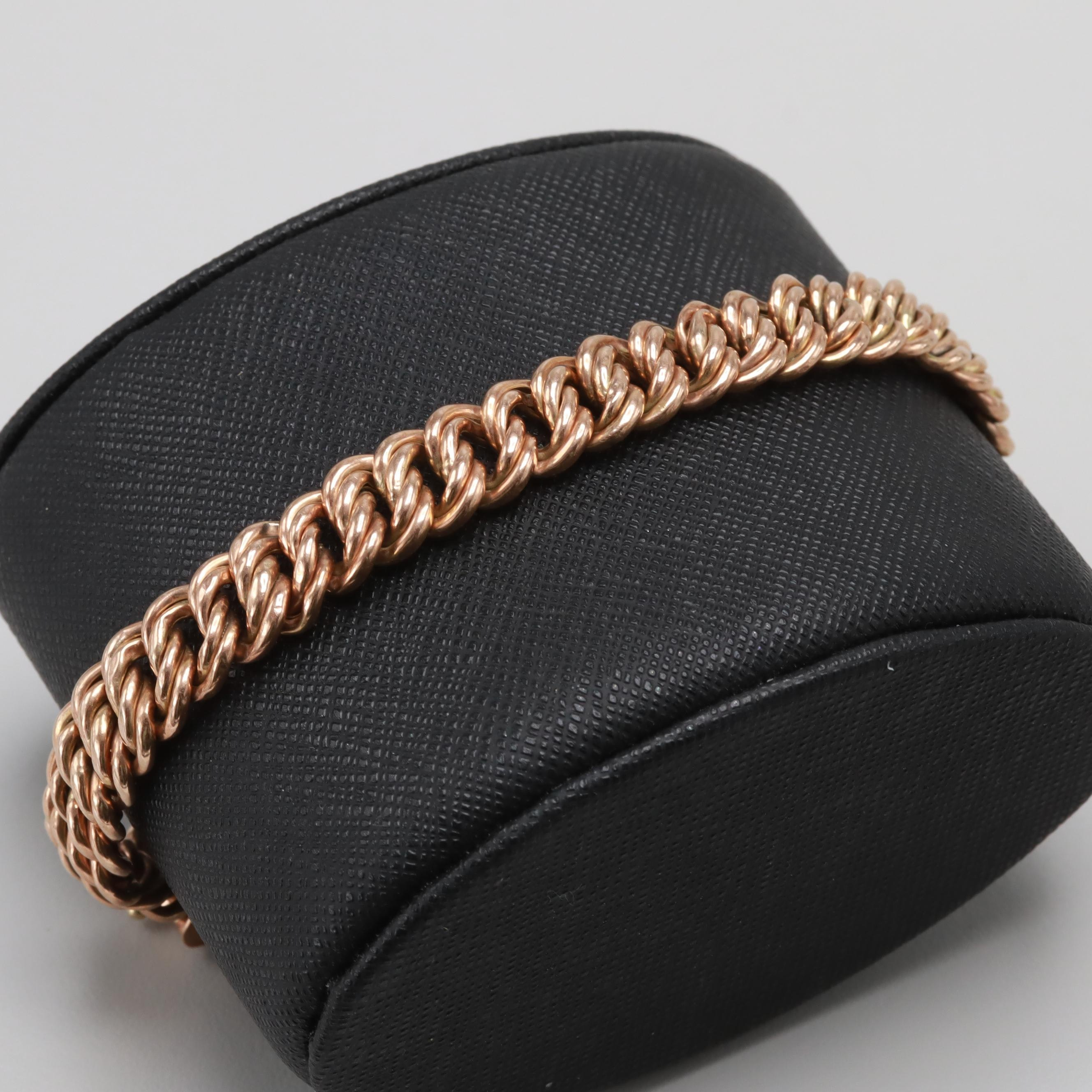 Antique 14K and 9K Rose Gold Bracelet with Safety Chain