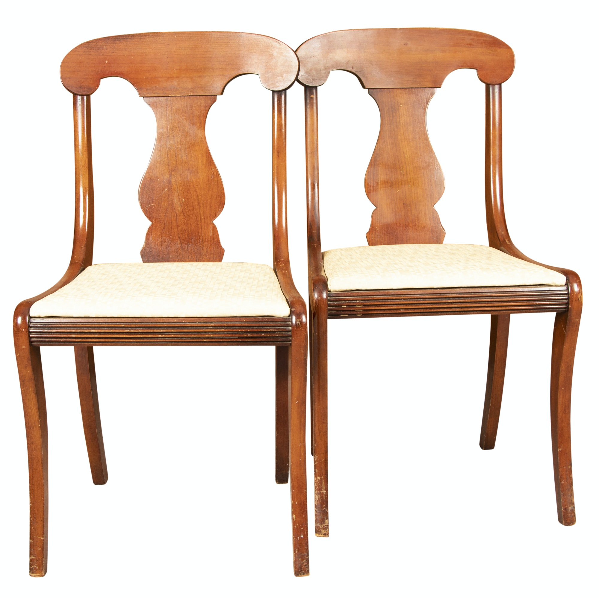 Federal Style Mahogany Finish Side Chairs, Mid 20th Century