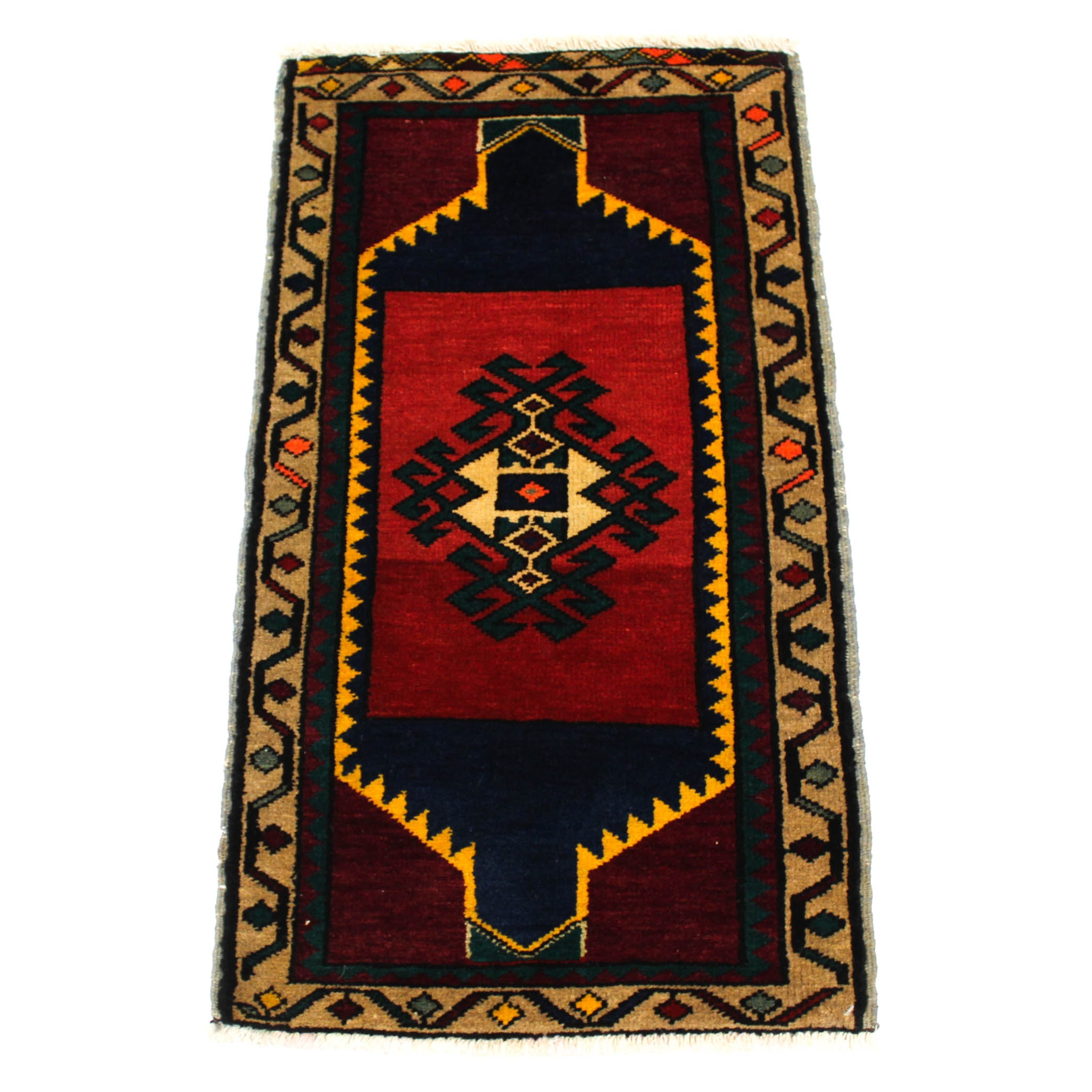 1'9 x 3'1 Semi-Antique Hand-Knotted Turkish Village Rug