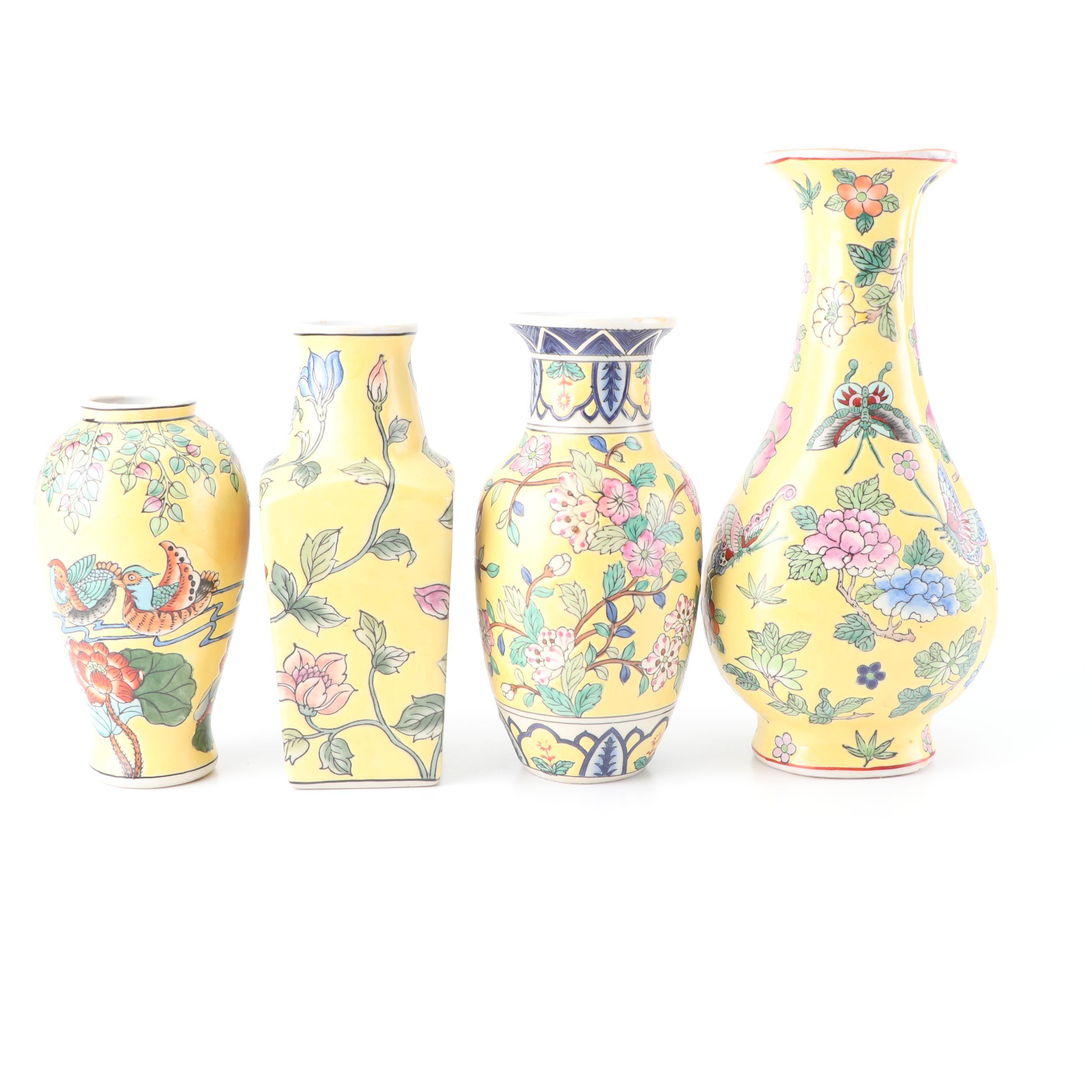 Chinese Famille Jaune Style Porcelain Vases