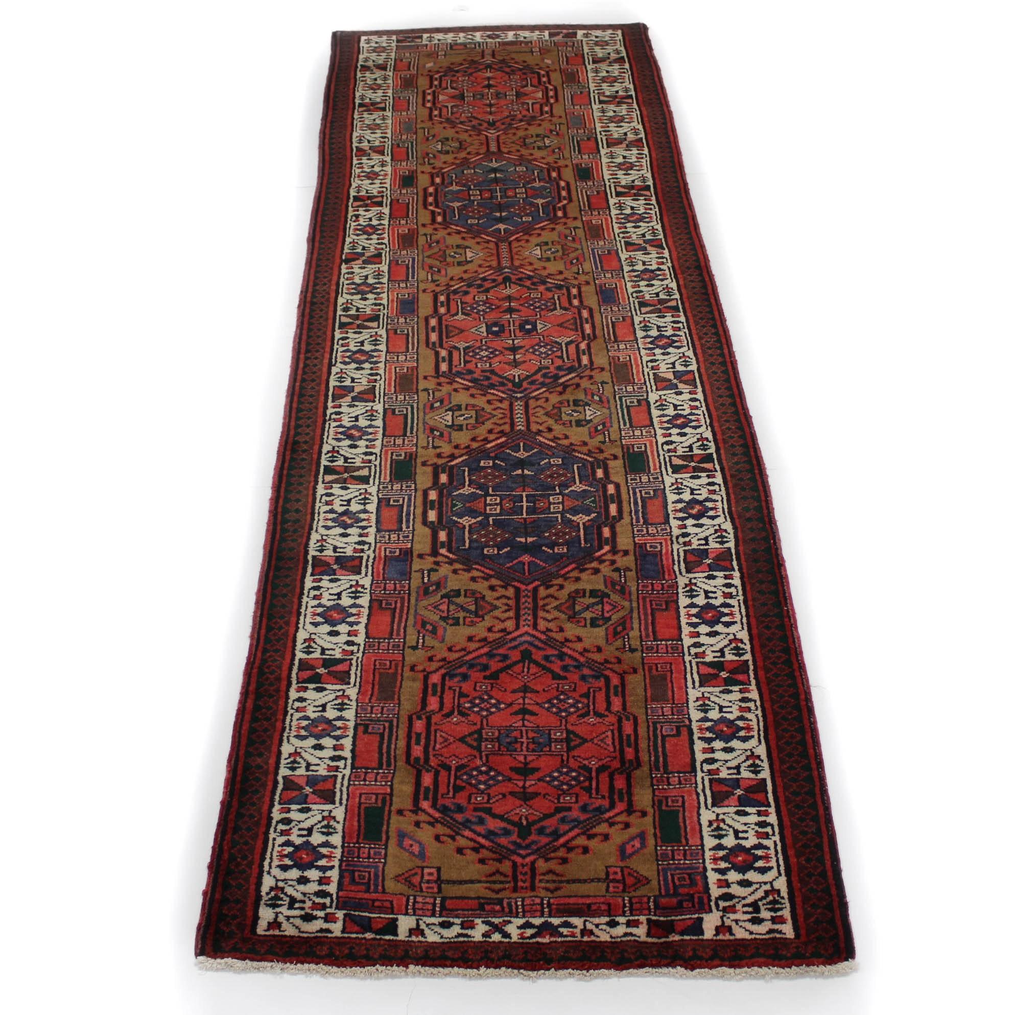 3'2 x 11' Semi-Antique Hand-Knotted Persian Serab Carpet Runner