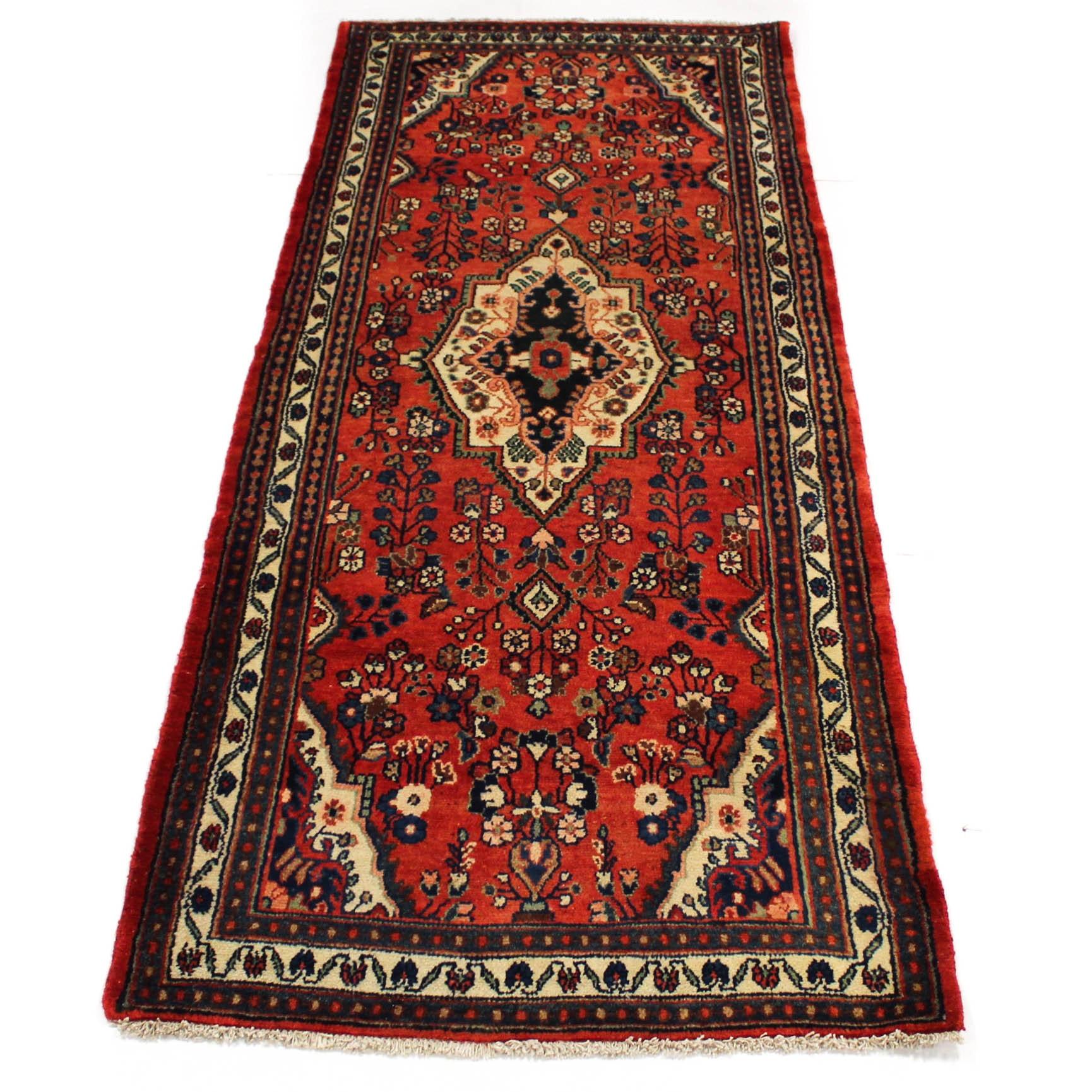 3'7 x 9'7 Semi-Antique Hand-Knotted Persian Darjezine Carpet Runner