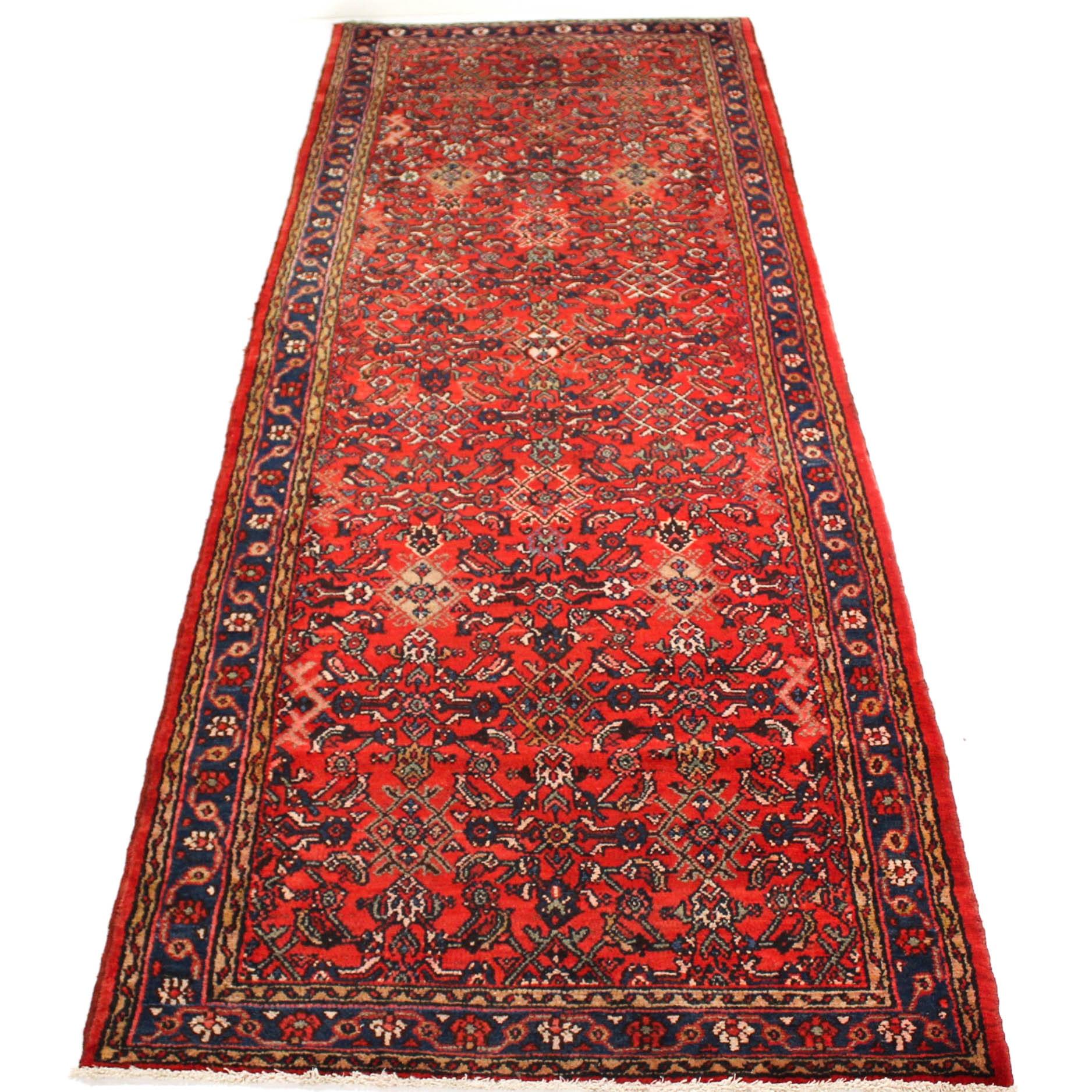 4'1 x 11'8 Hand-Knotted Semi-Antique Persian Zanjan Carpet Runner