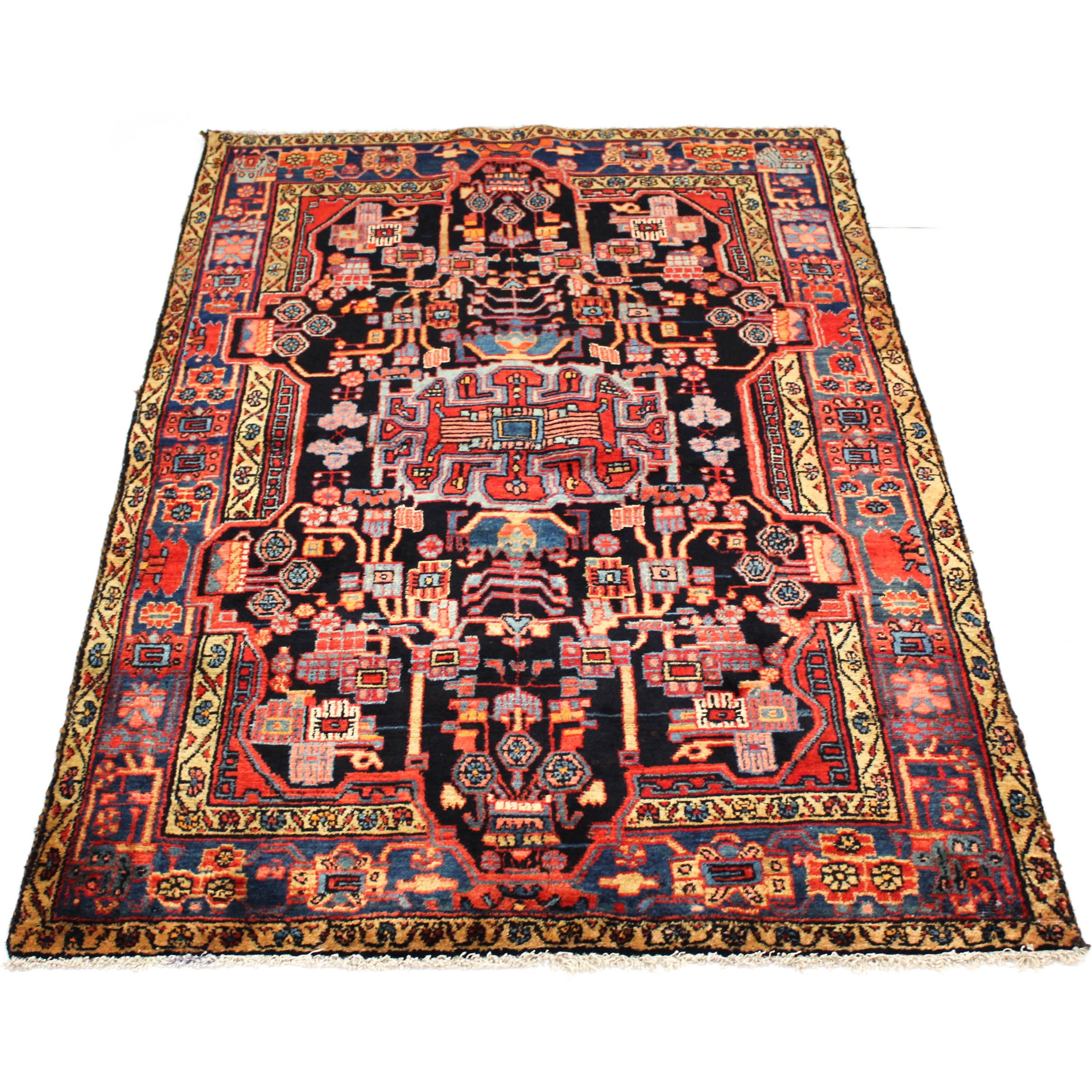 4'9 x 7'6 Hand-Knotted Semi-Antique Persian Nahavand Rug