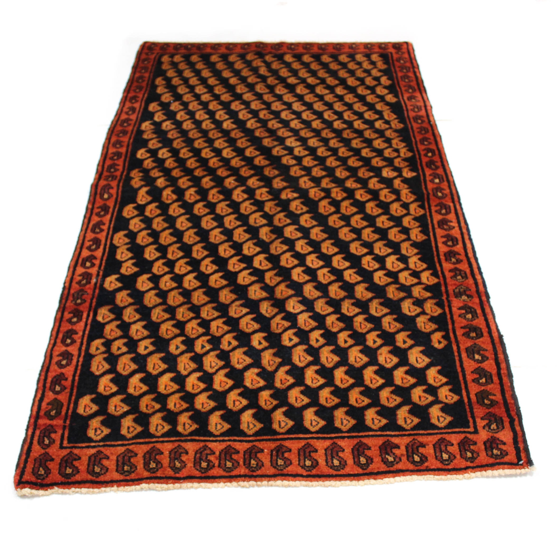 4' x 7'5 Semi-Antique Hand-Knotted Persian Malayer Rug