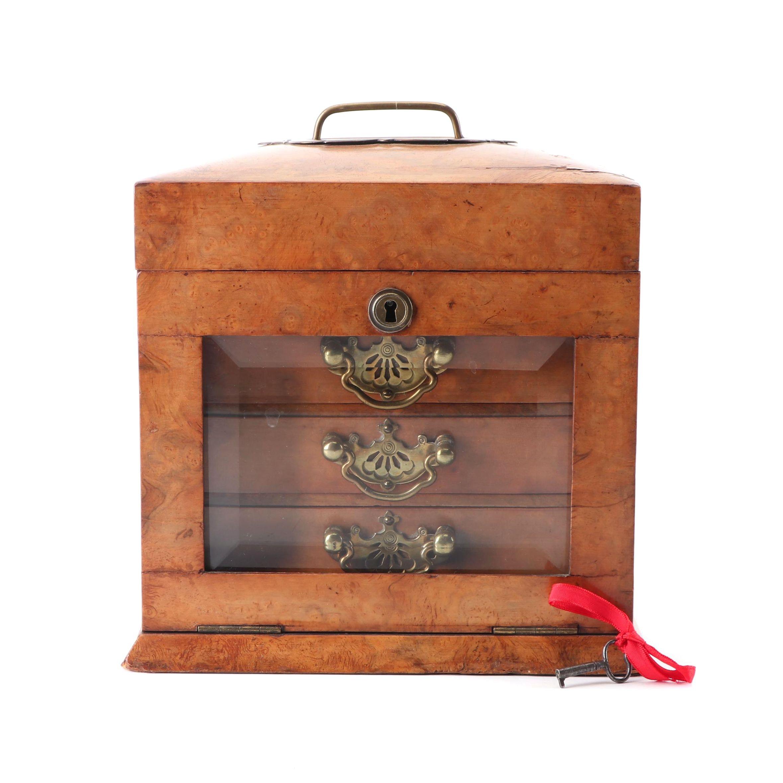 Victorian Figured Walnut Jewelry Casket, Late 19th century