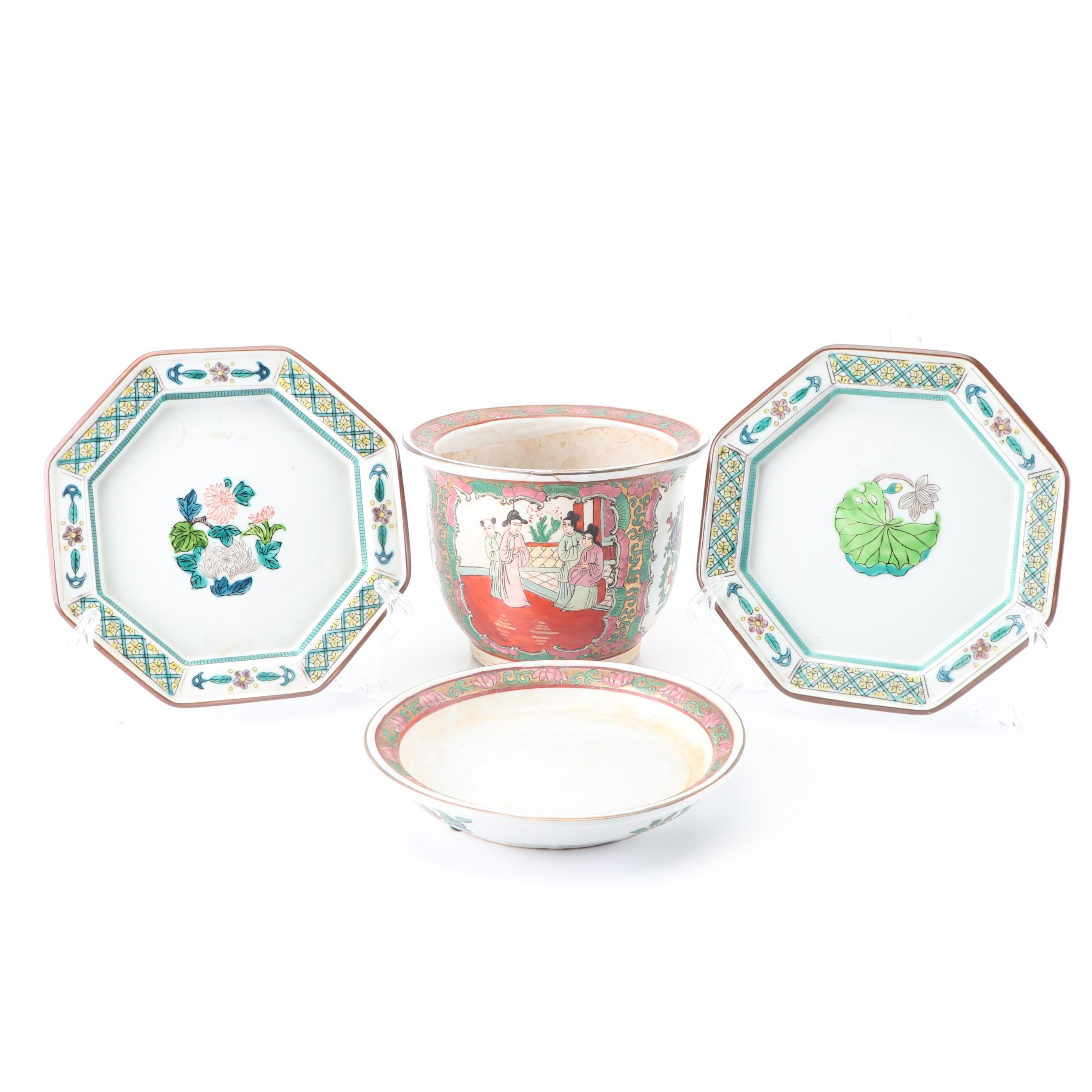 East Asian Hand-Painted Porcelain Planter and Dishes
